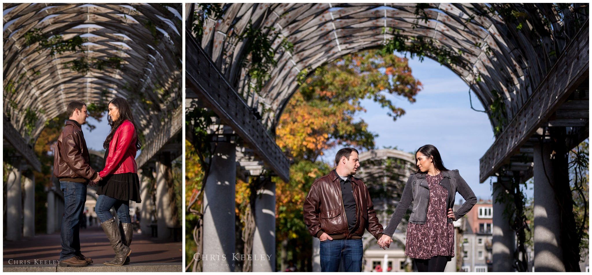The archway at Christopher Columbus Park in Boston offers a great backdrop for your engagement pictures, and anyone who knows Boston will recognize this iconic setting.