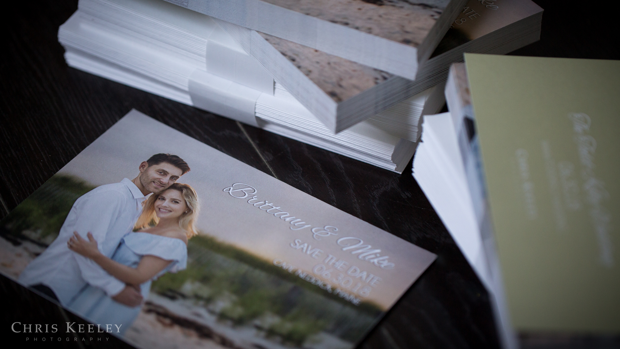 We created clean, modern, stylish Save the Date cards to announce their wedding.