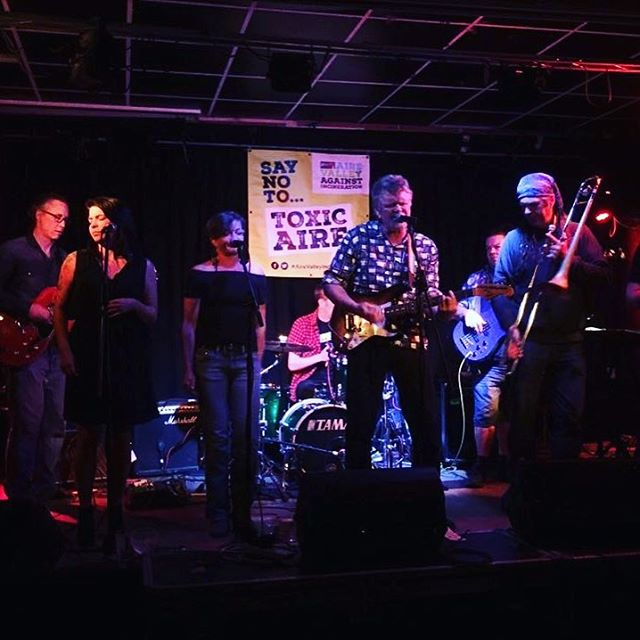 Another shot of us from yesterday at @exchangearts where we played with the phenomenal @lynseycawthra and Liam Newton. Great night! #rocksteady #ska #reggae #soul #folk #roots #pop #trumpet #trombone #singer #rhythm #guitar #drums #vocals #bass #bands #banner #graphicdesign #event #charity #fundraiser #local #excellent #cause