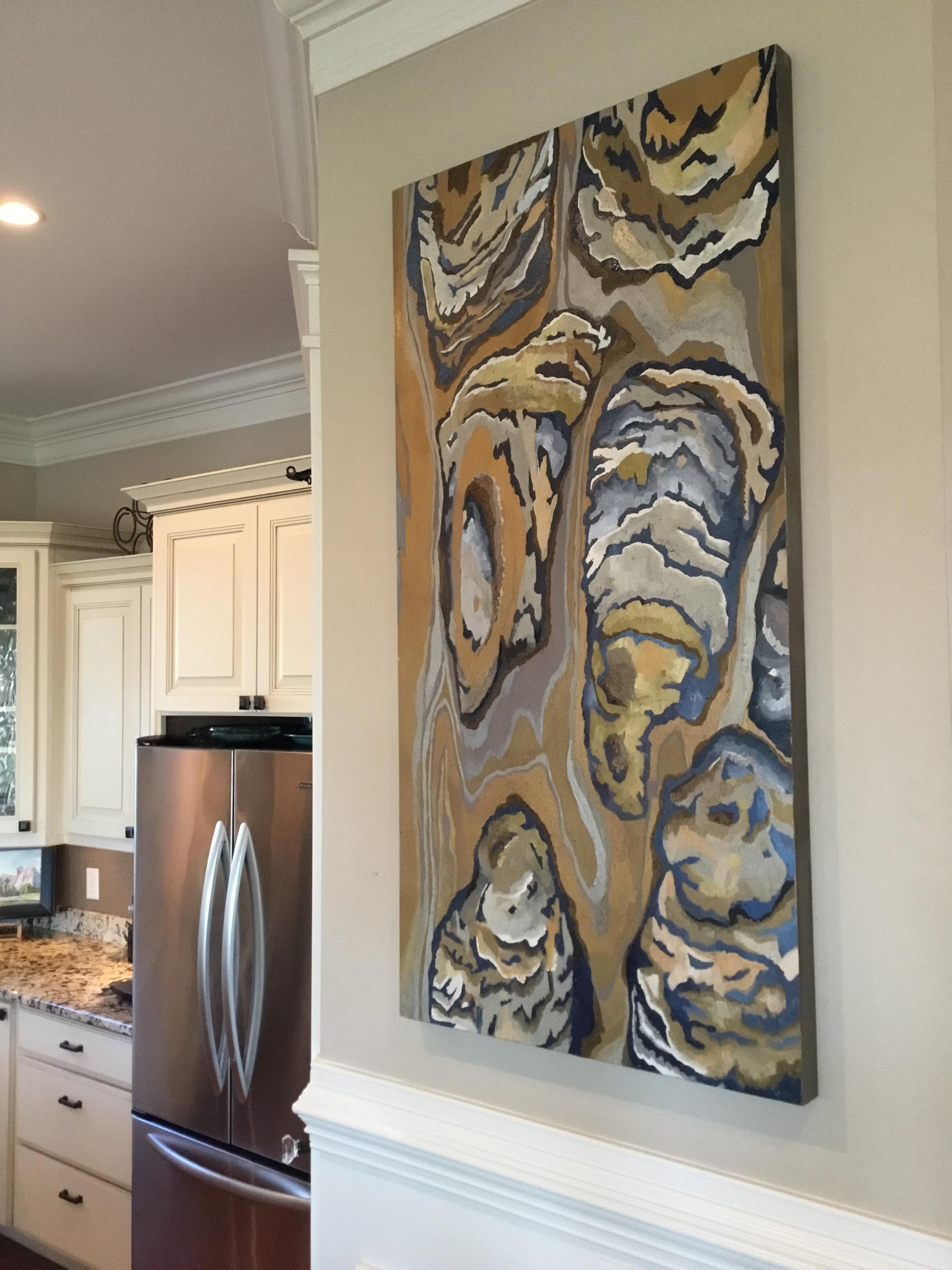 Oysters on Birchwood Canvas  24 x 48  $1600