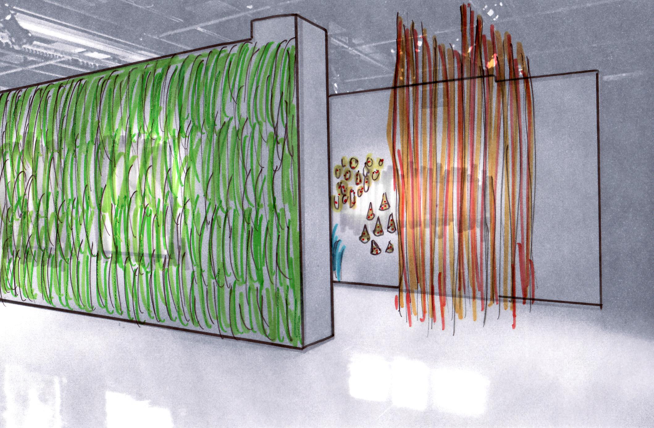Mur végétal en papier :esquisse préparatoire pour l'exposition à la Maison de la culture   Ahuntsic à l'automne 2017