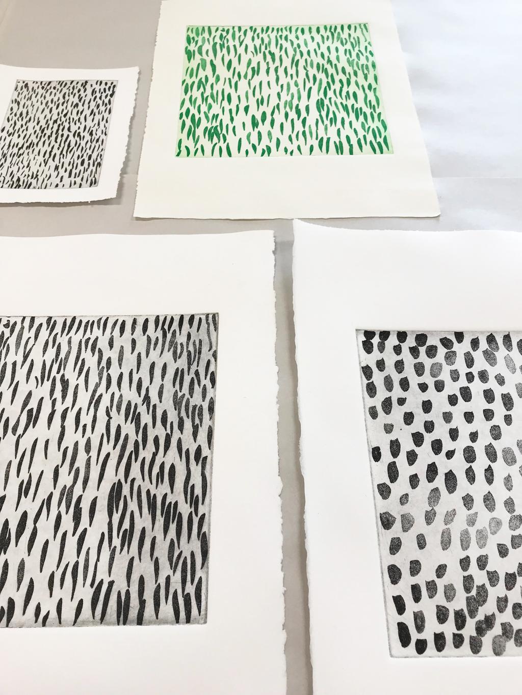 Tests d'impression : première épreuves encre noire et verte