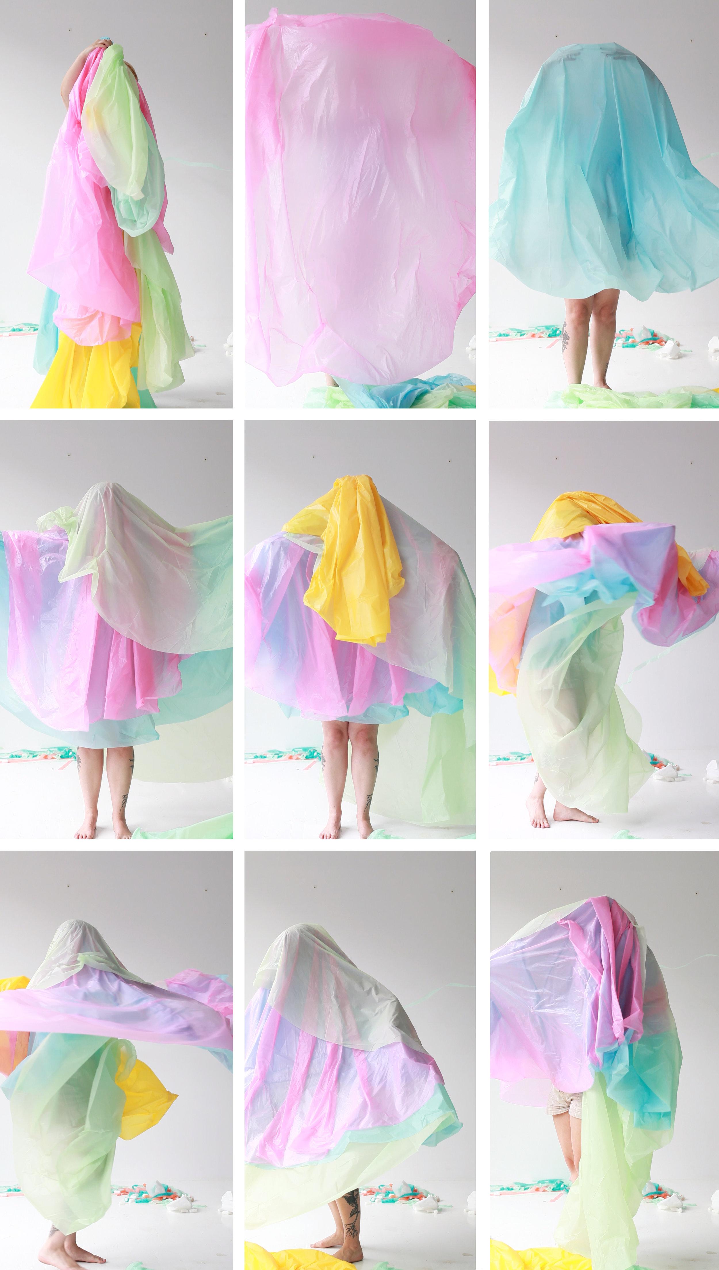 La danse colorée . Images issues d'une séquence vidéo avec la caméra Canon. Performance Clara Painchaud. Cadrage Annie France Leclerc.