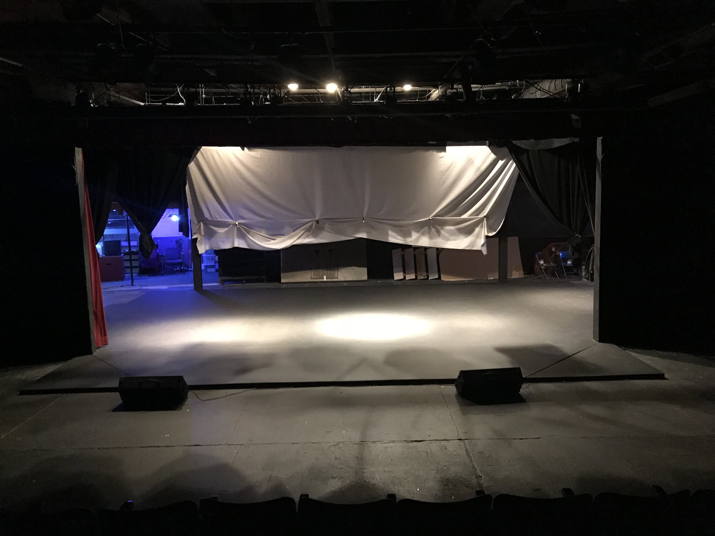 The stage of Newnan Theatre Company, once again painted black.