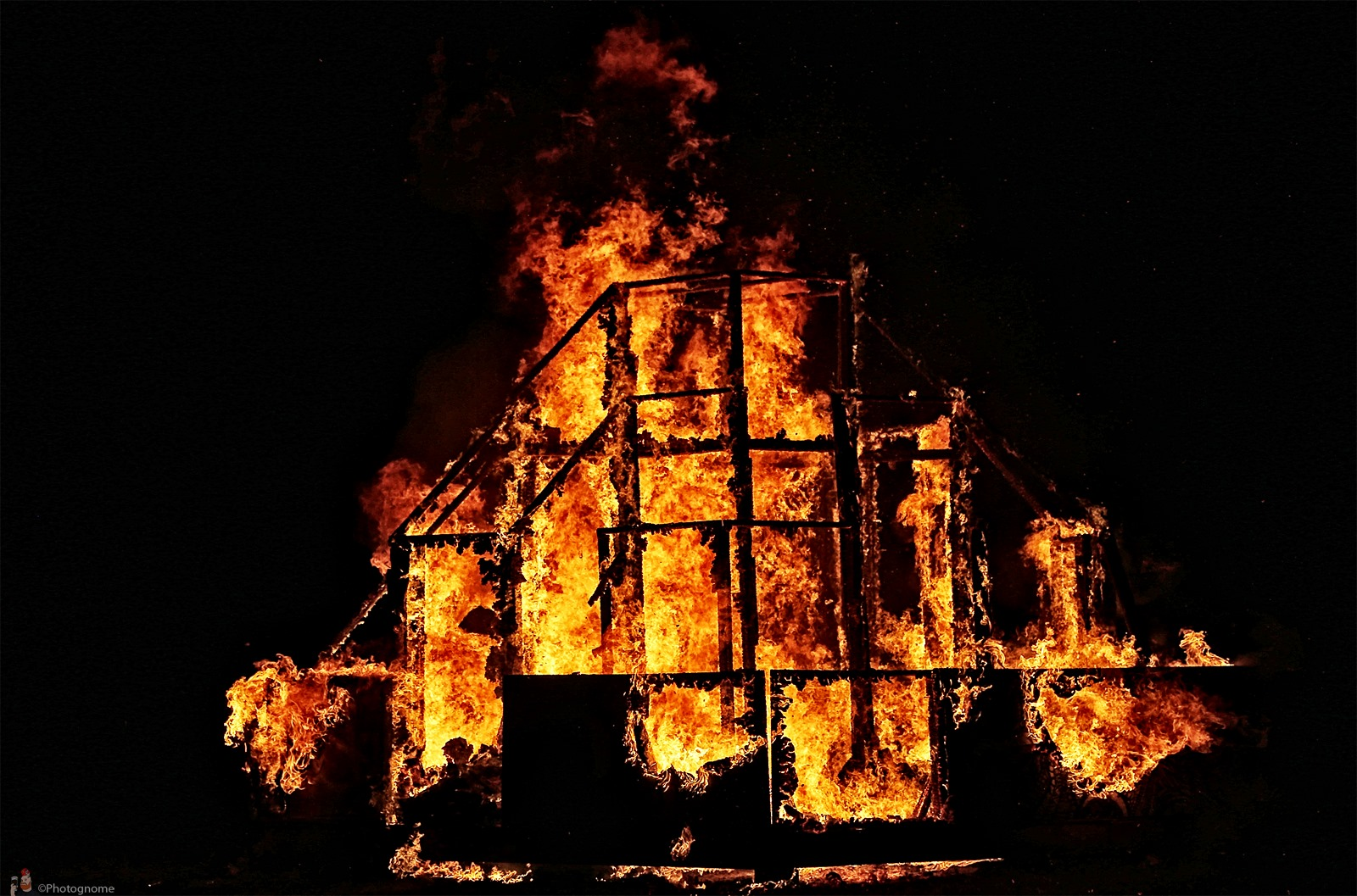It's called a burn for a reason: the Effigy was a hexagonal maze until we lit it on fire.  photo by Joe Hunt