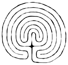 This is a classic 7-circuit labyrinth: the path goes around the center seven times. Try tracing it with your finger.