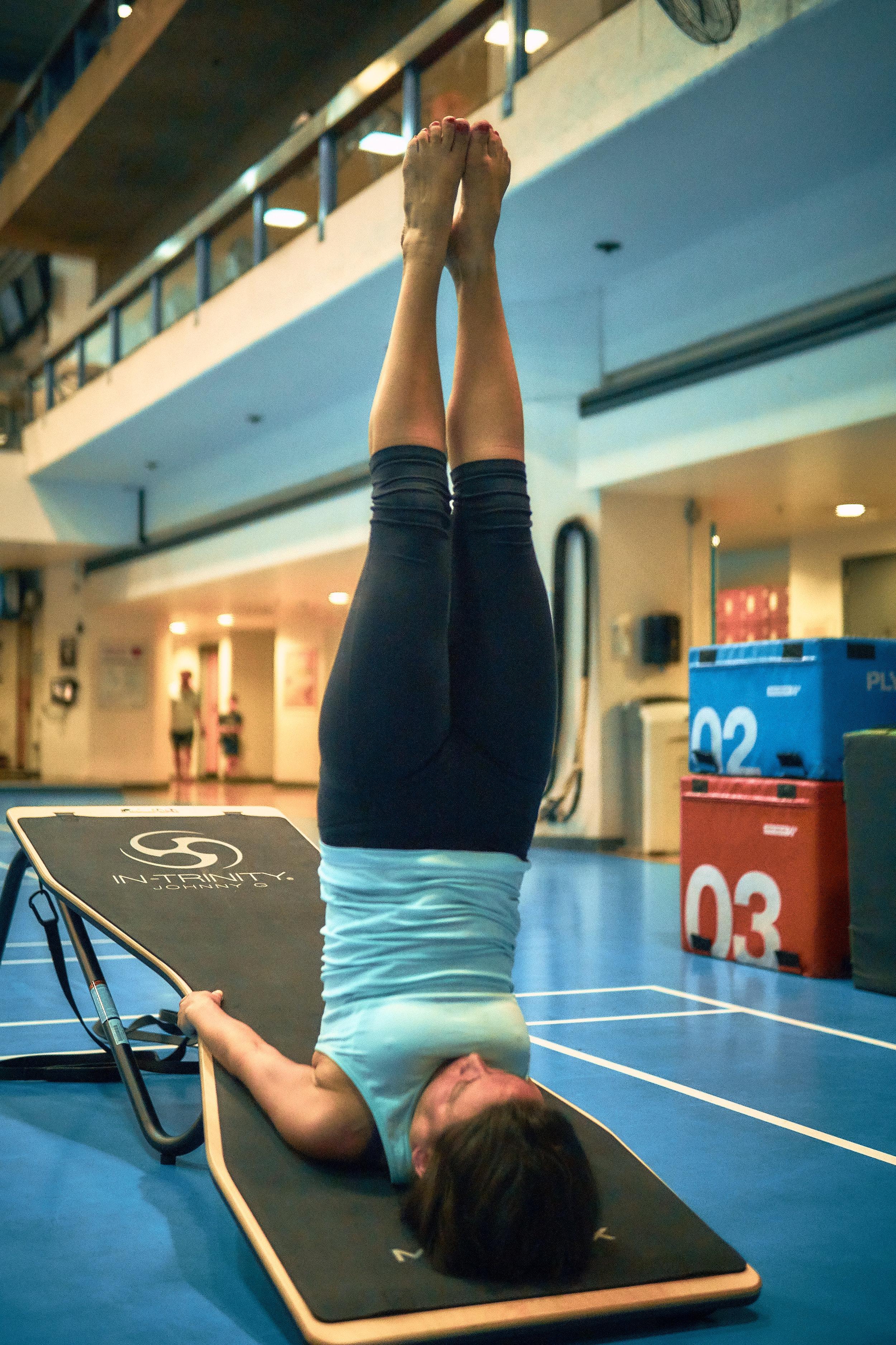 8 elements of In-Trinity - Incline - increased muscle activation, strength trainingSticks - increased use of balance, hand-eye coordination, arm strengthGravity - increased resistance or help to access deeper stretches, depending on which way you use the boardStraps - resistance, stabilisation, assistance in balance and accessing deeper stretchesErgo-grip rails - around the whole of the board, enabling different angles in stretches, ease on wrists for advanced yoga posesDecline - increased depth in stretches, use of gravity to help moving into advanced balance posesHourglass deck - different widths for different body shapes, ability to straddle board for posesNegative space - increased range of movement