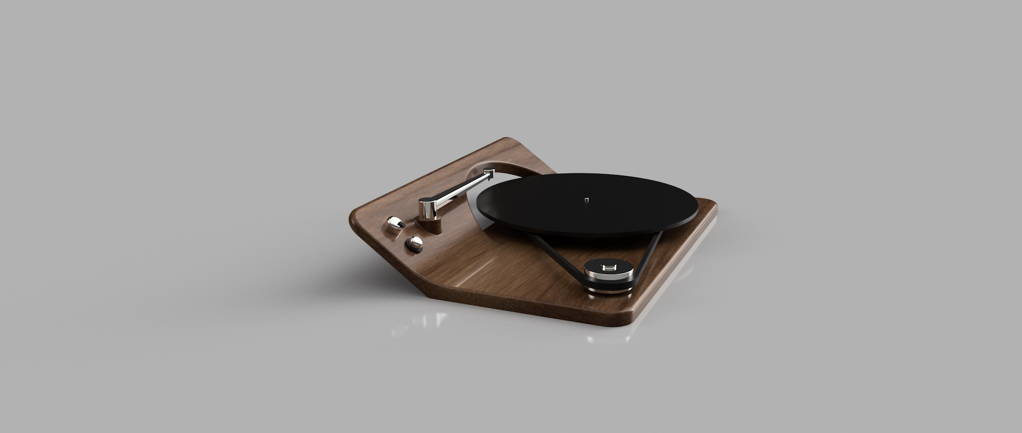 ANGLED WOOD RECORD PLAYER