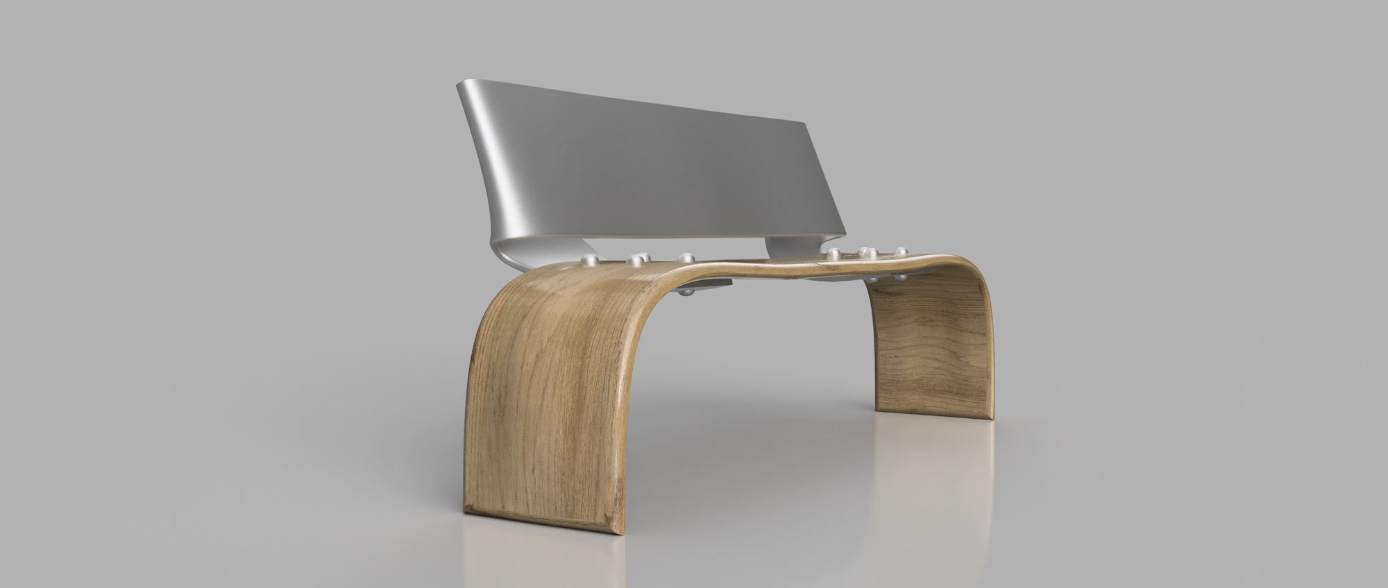 ALUMINUM AND WOOD PARK BENCH