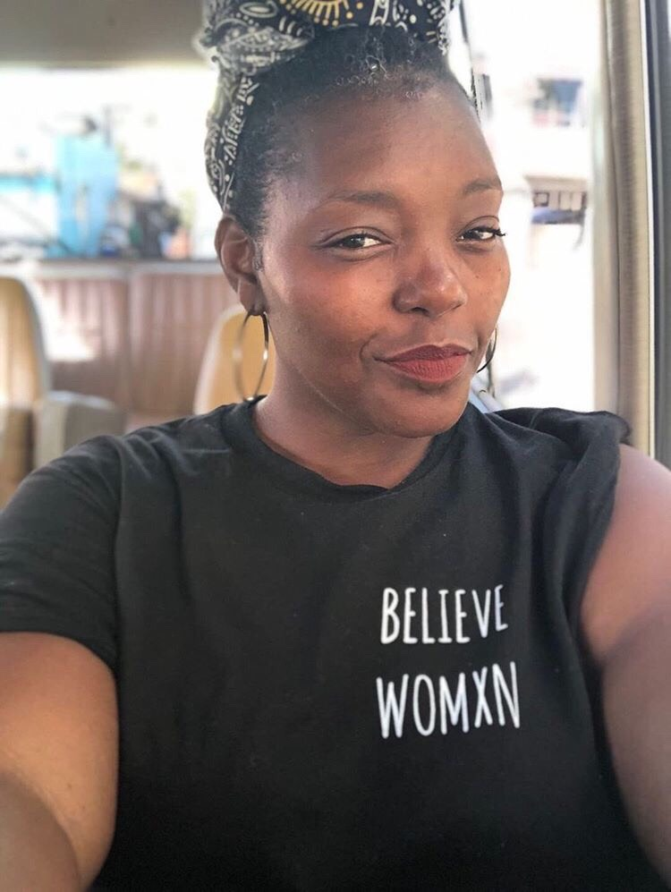 Black Believe Womxn Shirt    (worn by writer, organizer & educator and The Artistic Director of Urban Word NYC & Poetry Coordinator at St. Francis College, Mahogony Browne,    @mobrowne   )