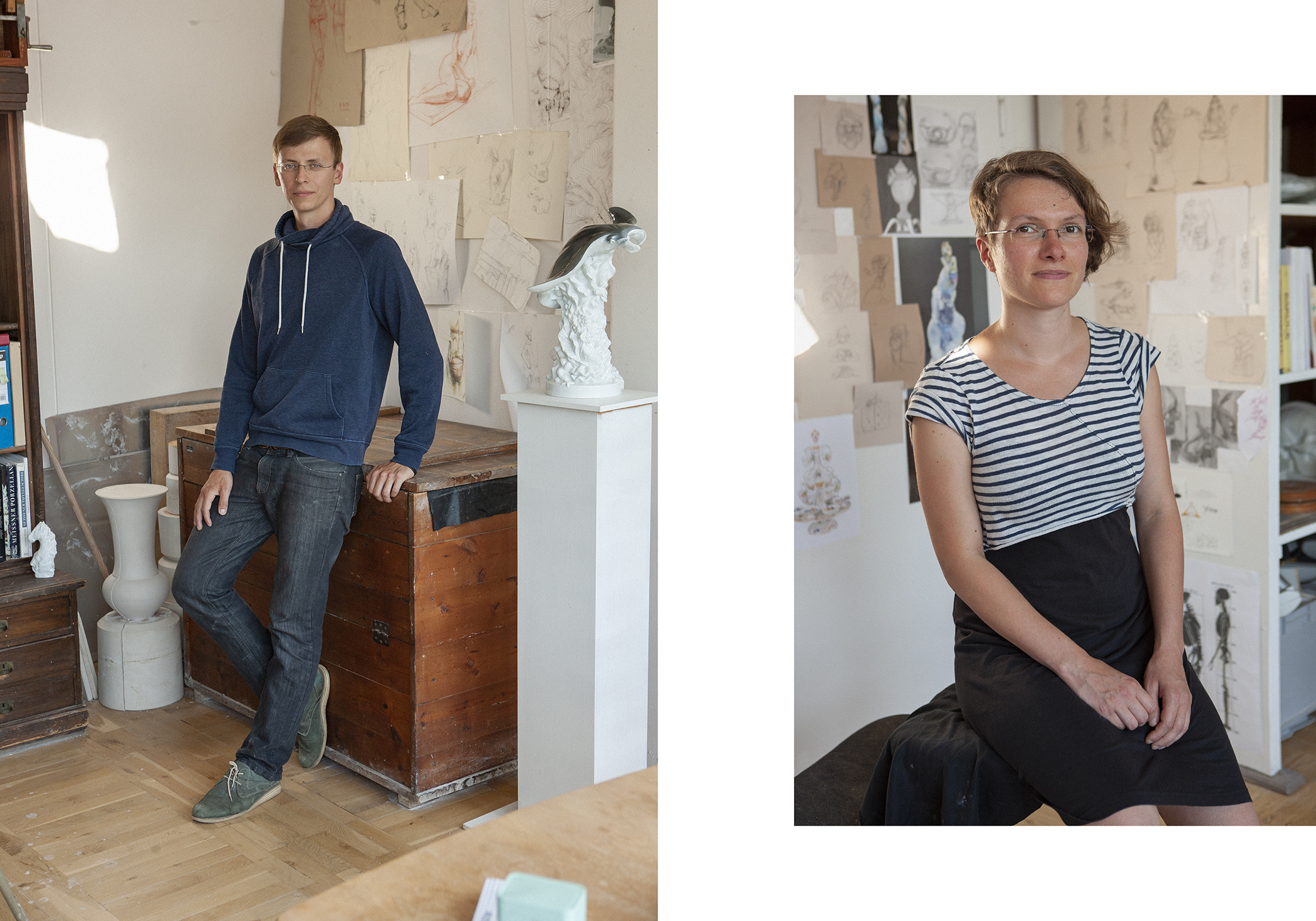 Maria Walther & Maximilian Hagstotz   artists at Meissen porcelain manufactory   Dresden Special   for  Weltkunst
