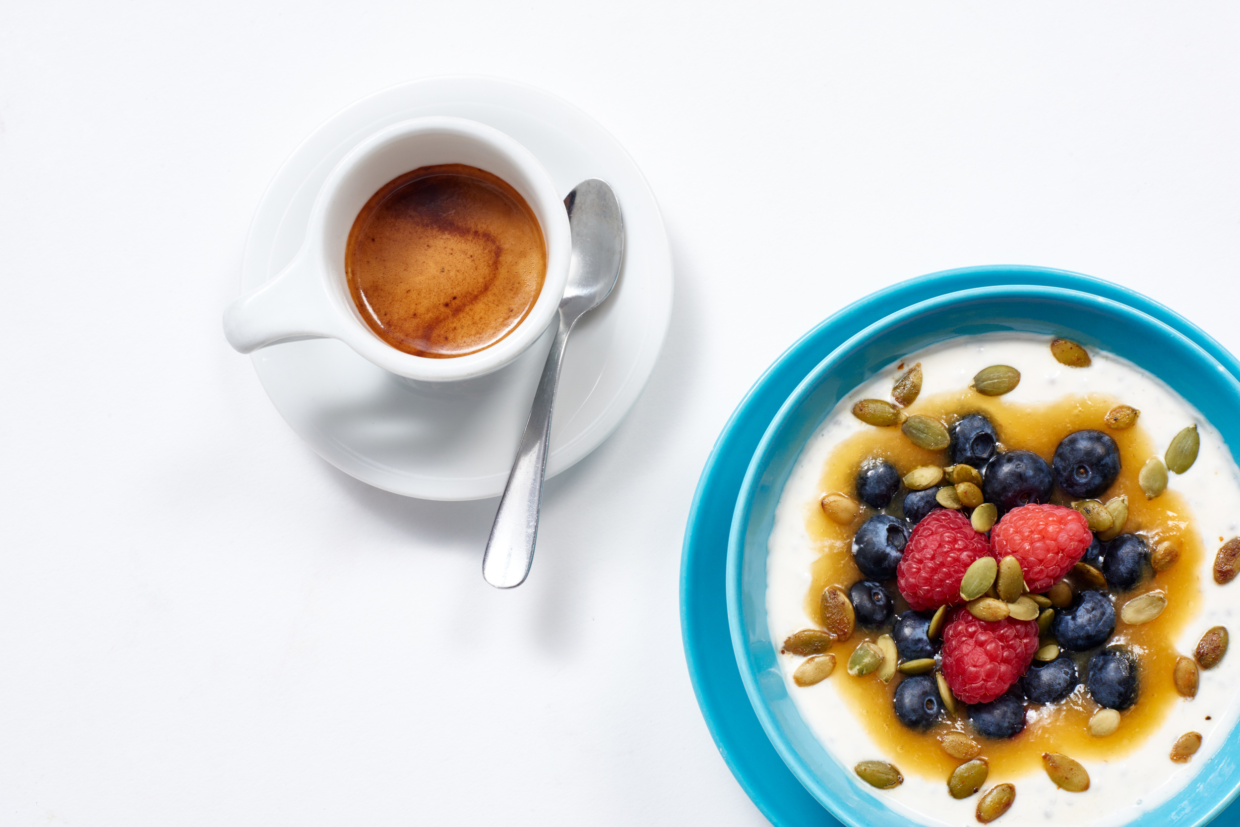 Intelligentsia espresso + seasonal fruit yoghurt.