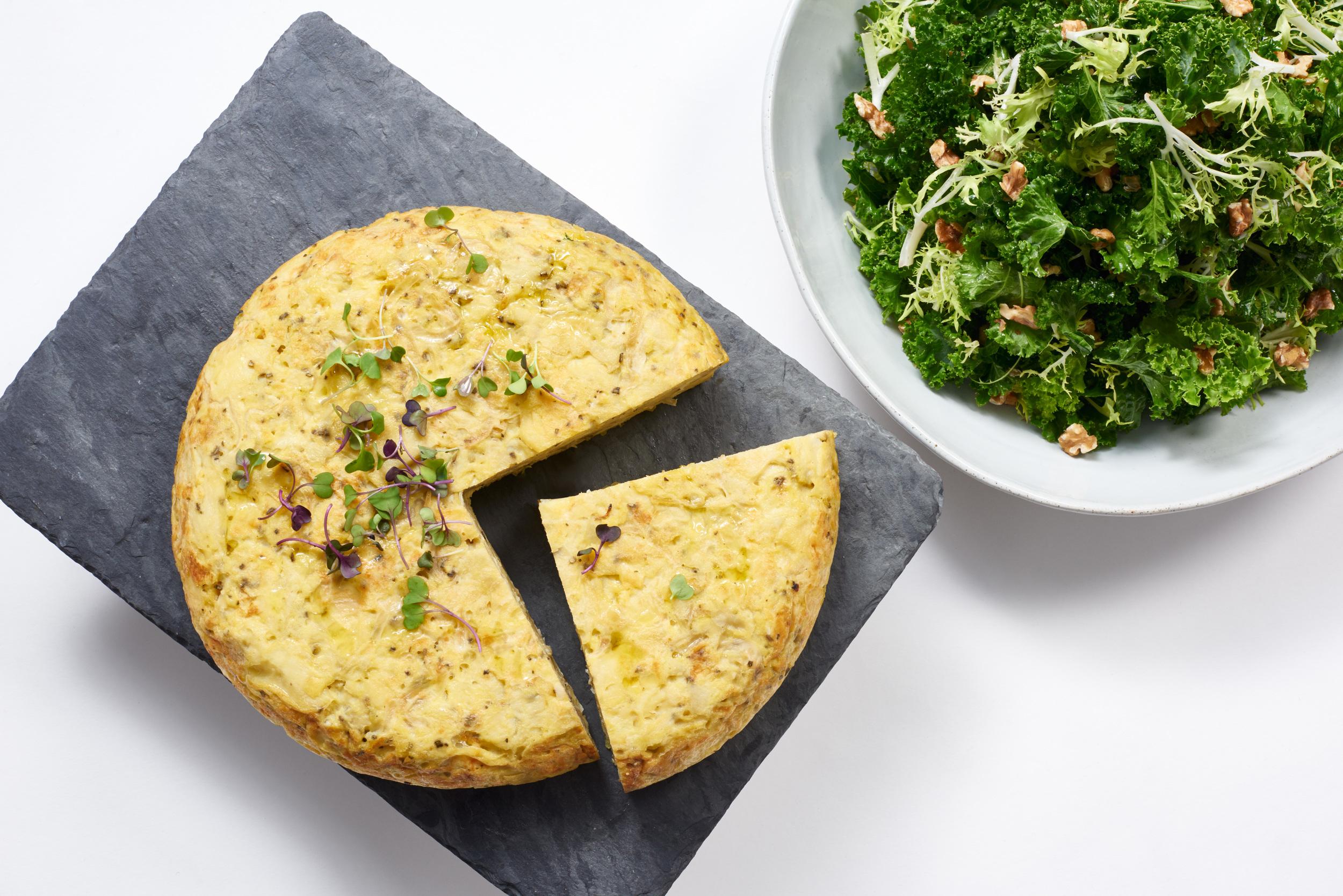 Tortilla española + kale frisee salad.