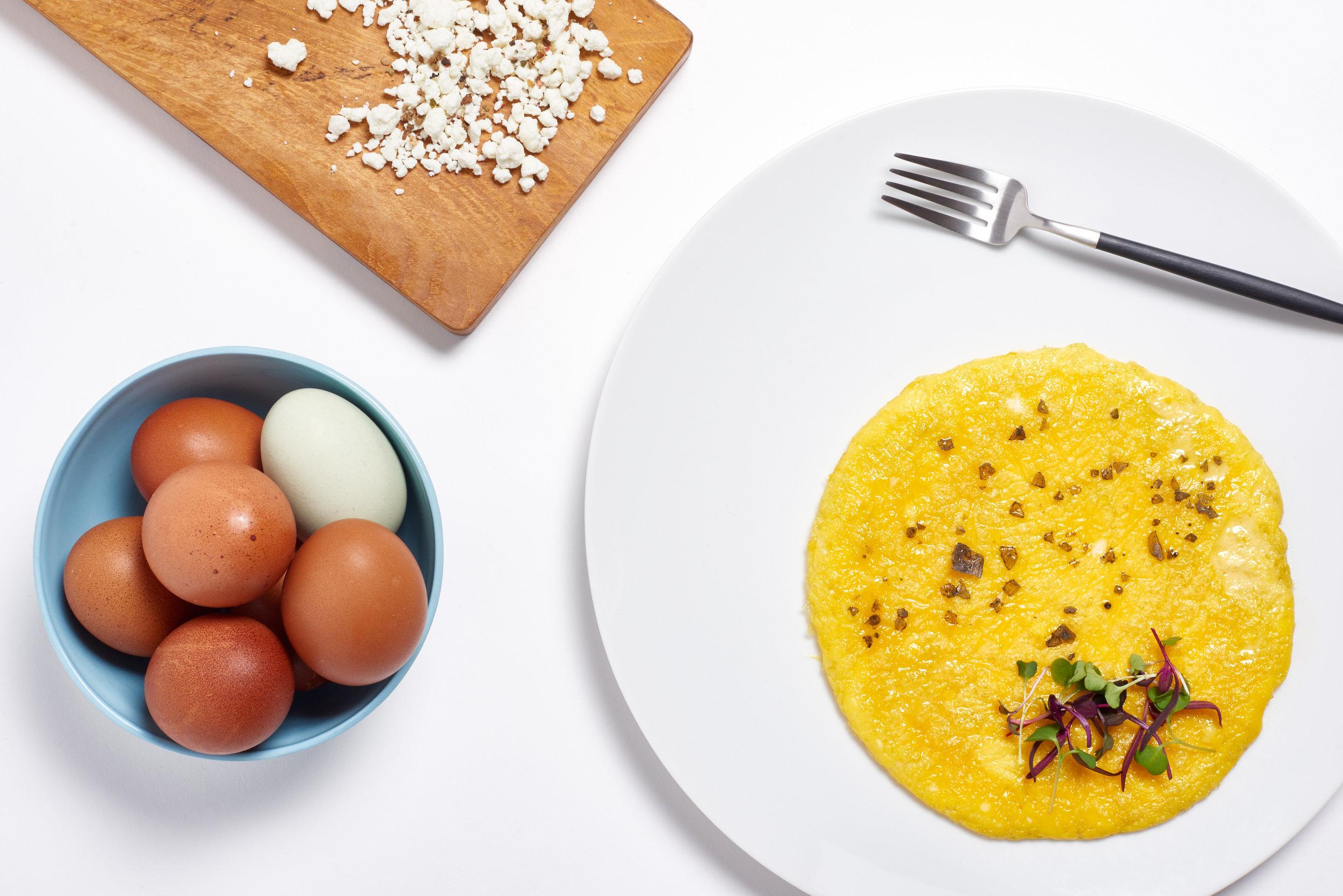 Goat cheese, farm eggs omelette