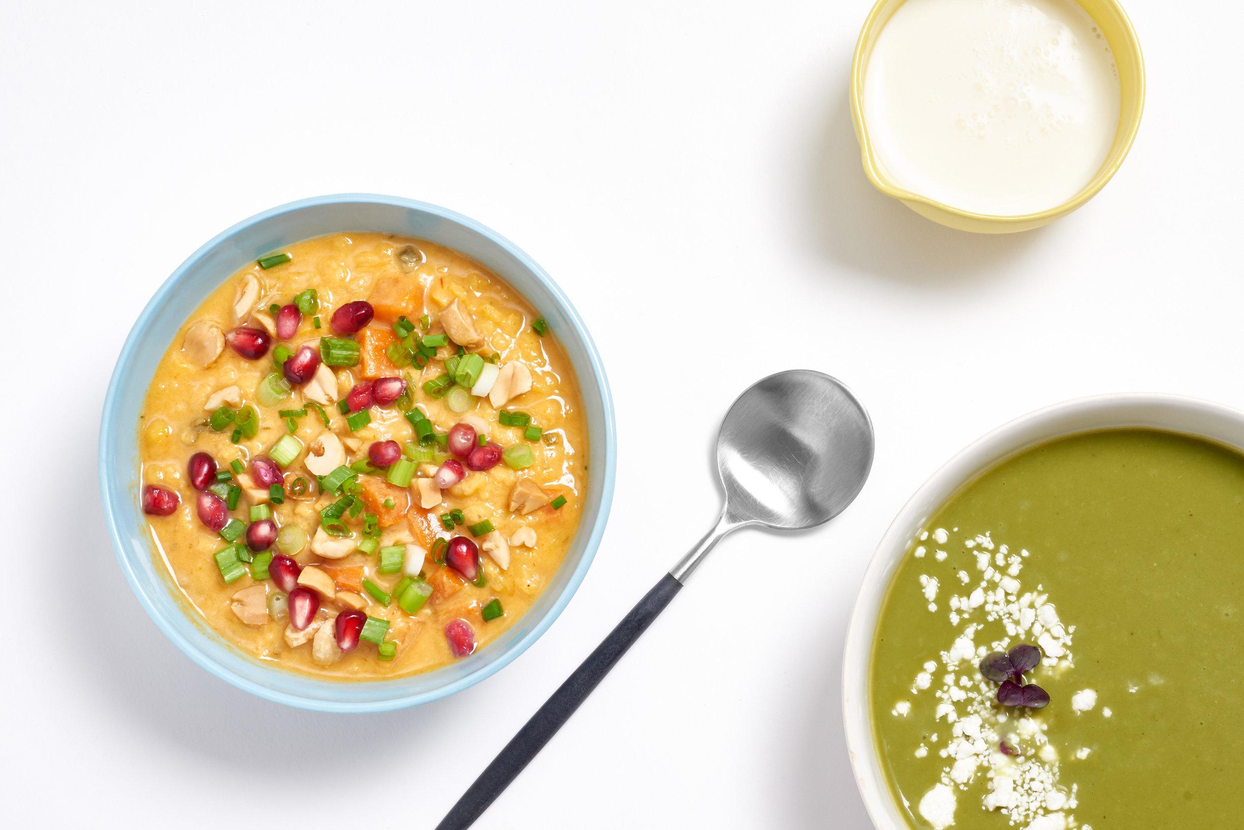 Coconut curry lentil soup + broccoli & spinach soup