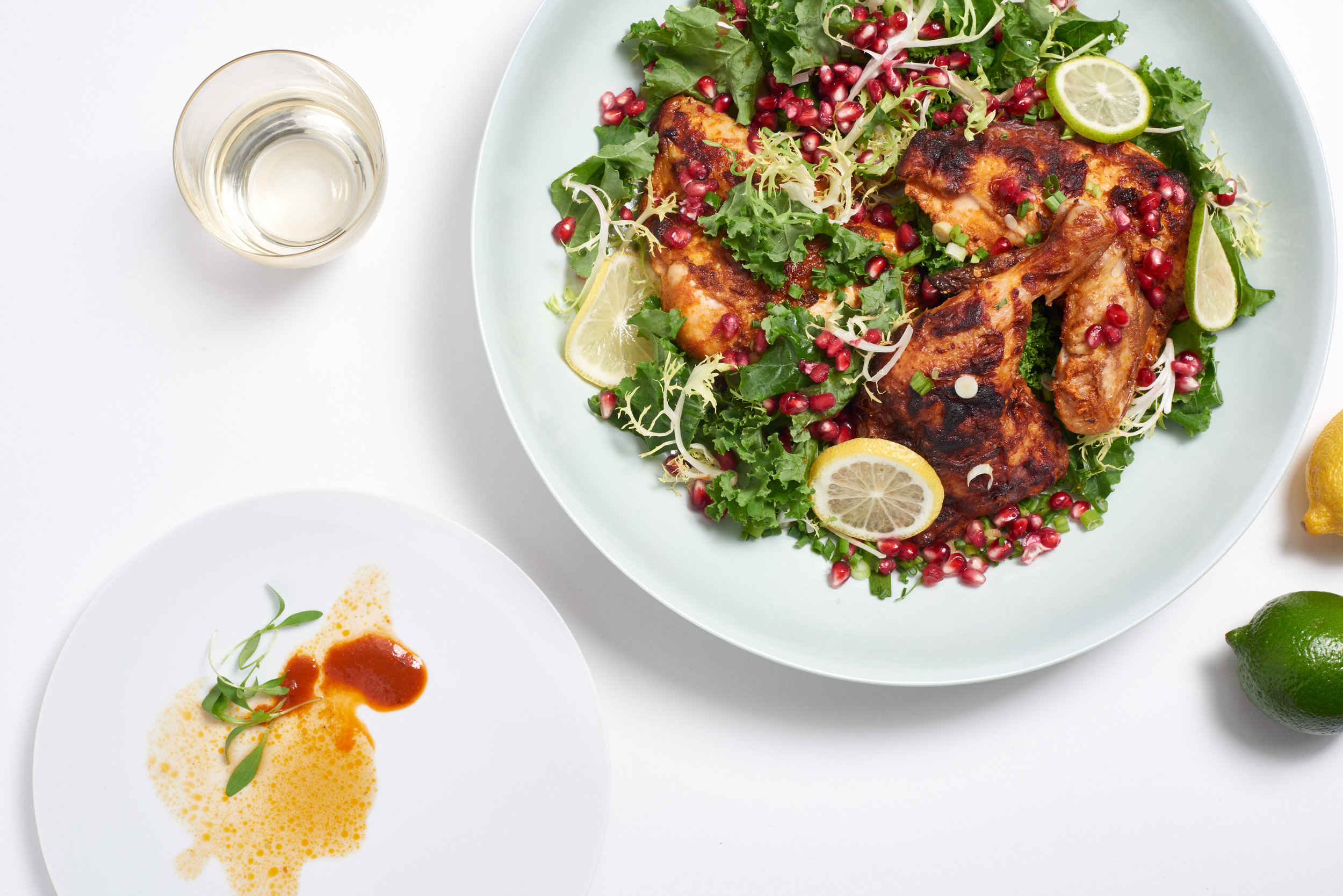 Red curry roasted chicken + citrus frisee endive & kale salad
