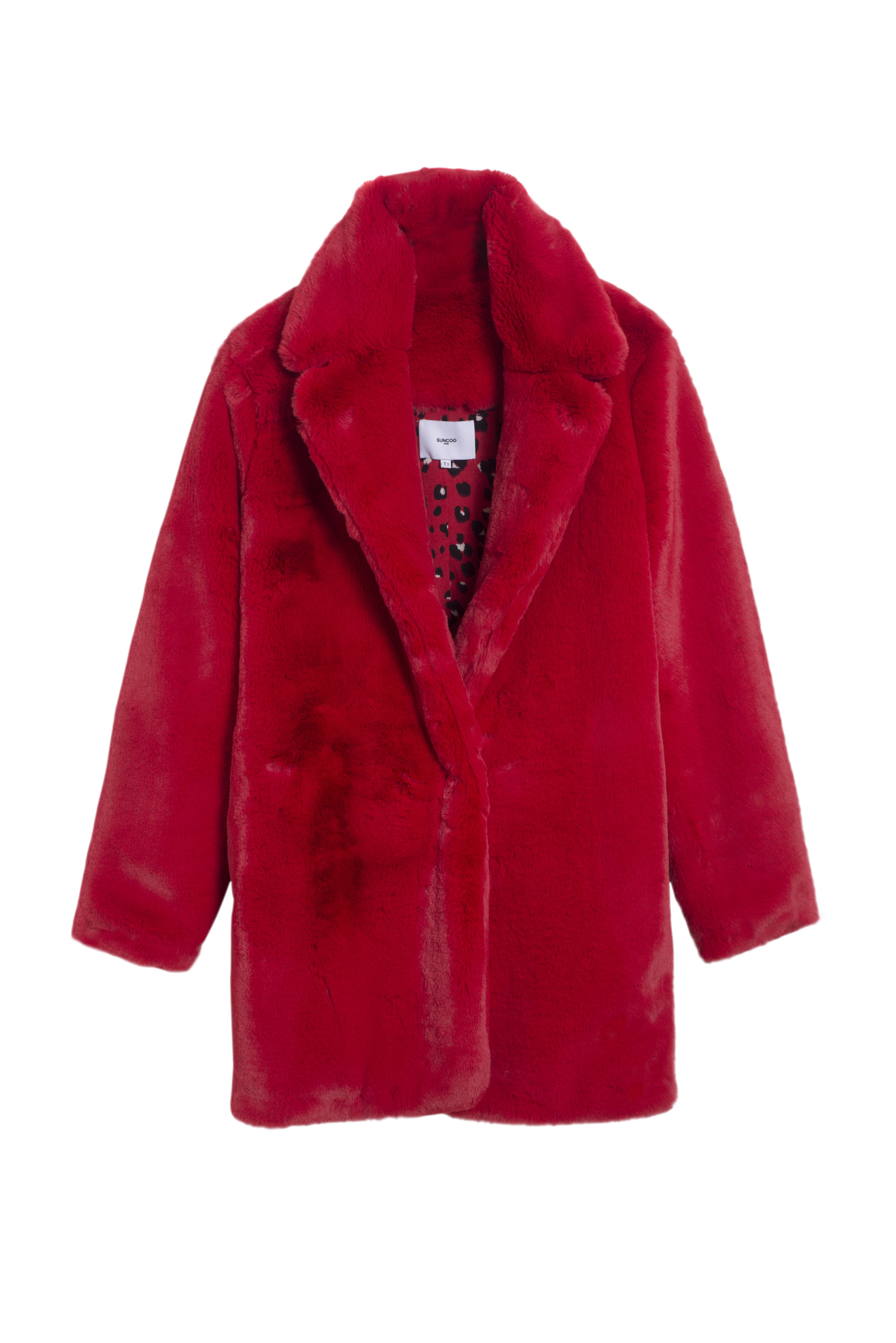 ELLA Coat $535 - Red is this season's bold color of choice. Throw on the vibrant Ella coat that will transition seamlessly from day to night. The wide cut hits mid-thigh and the fluffy faux fur is just as soft as the real thing—and just as warm.
