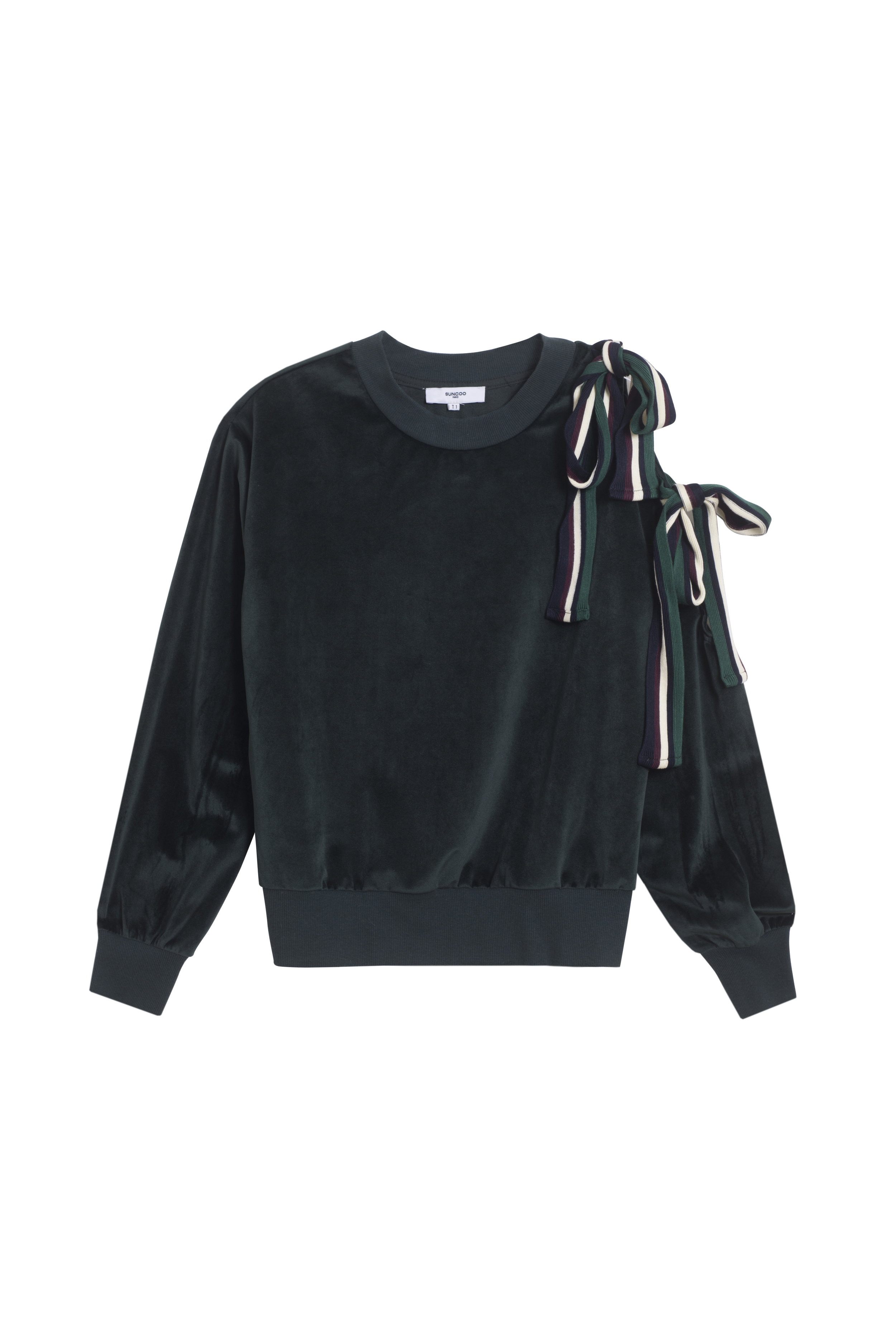SATINE Pullover $155 - The dark green velour crew neck appears unextravagant from the right. But turn a cold-shoulder to boring fashion and you're met with voluminous ribbon ties on the cut-out shoulder. The ribbed neck, cuffs, and bottom will keep you toasty on a crisp fall day.