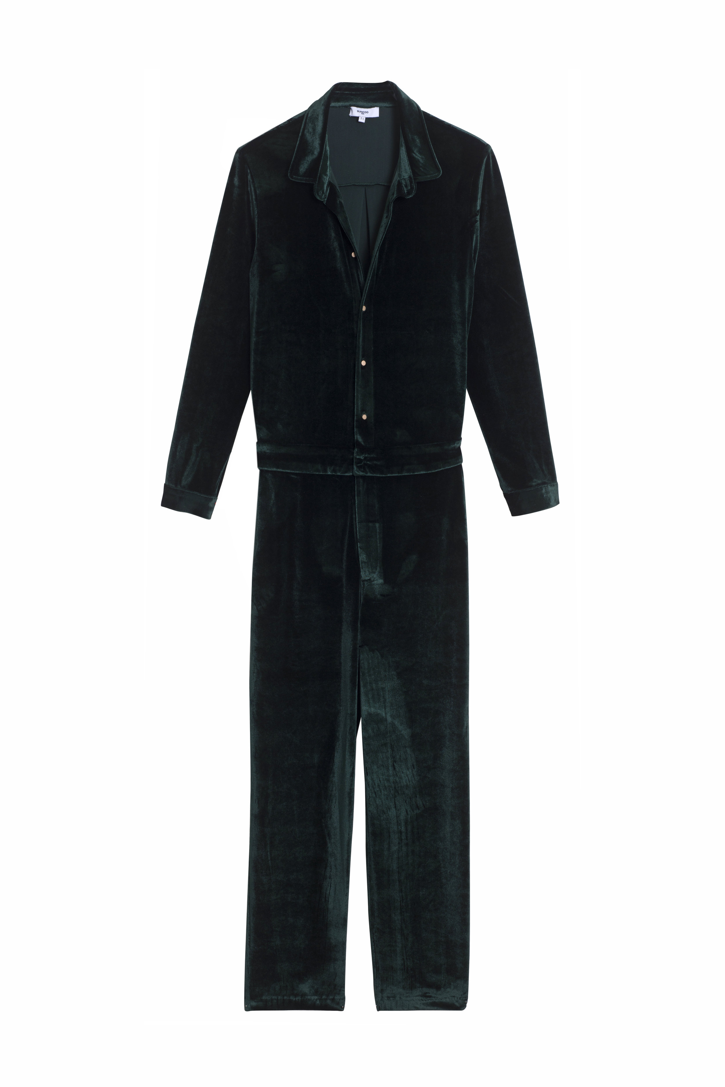 TOMMY Velvet Jumpsuit - This jewel-toned gem of a jumpsuit with delicate gold buttons elevates the baggy silhouette of a boiler suit from auto-shop mechanic to sartorially sharp.  Add your own feminine flair with a pair of heels or a bold lip.