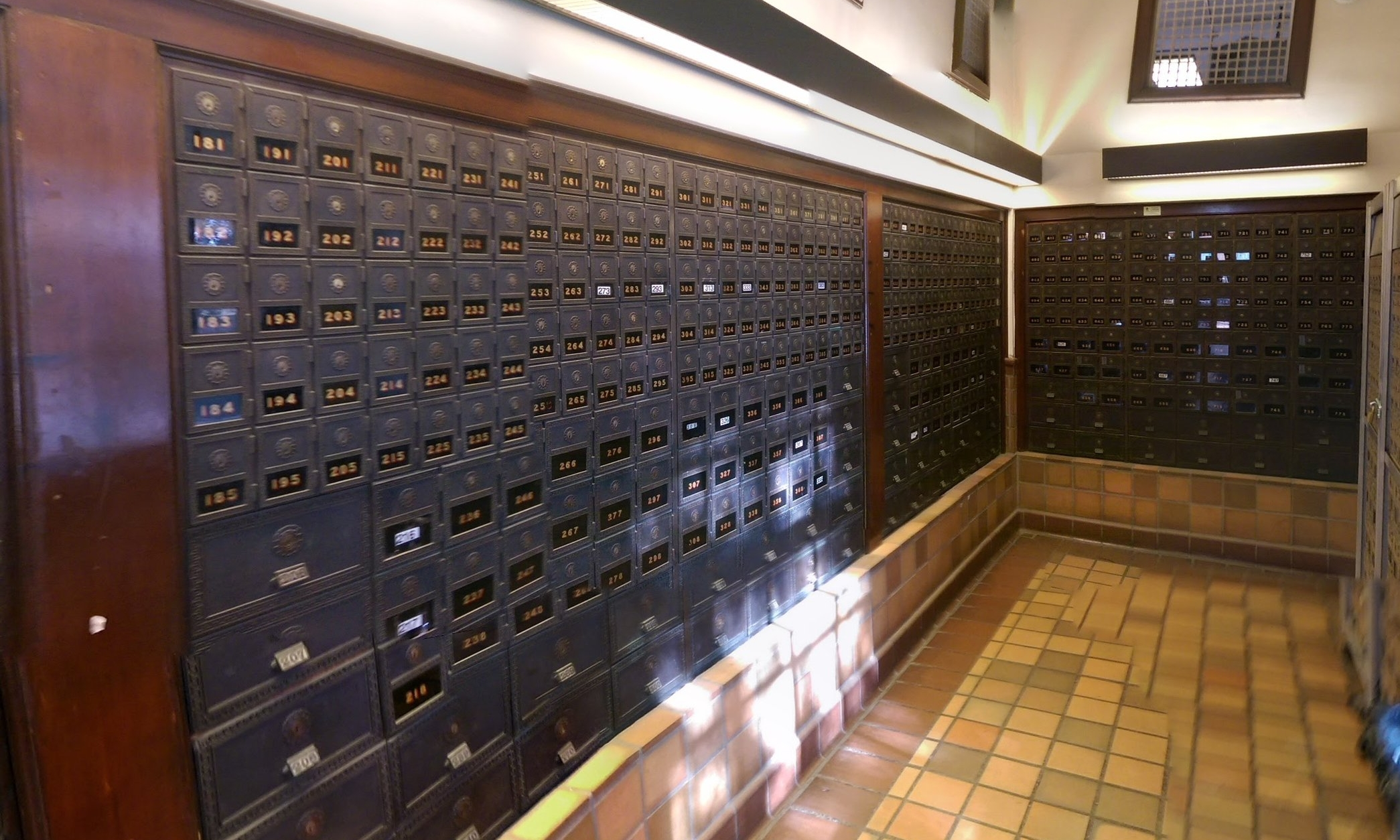 a bank of Post Office Boxes in Oceanside California