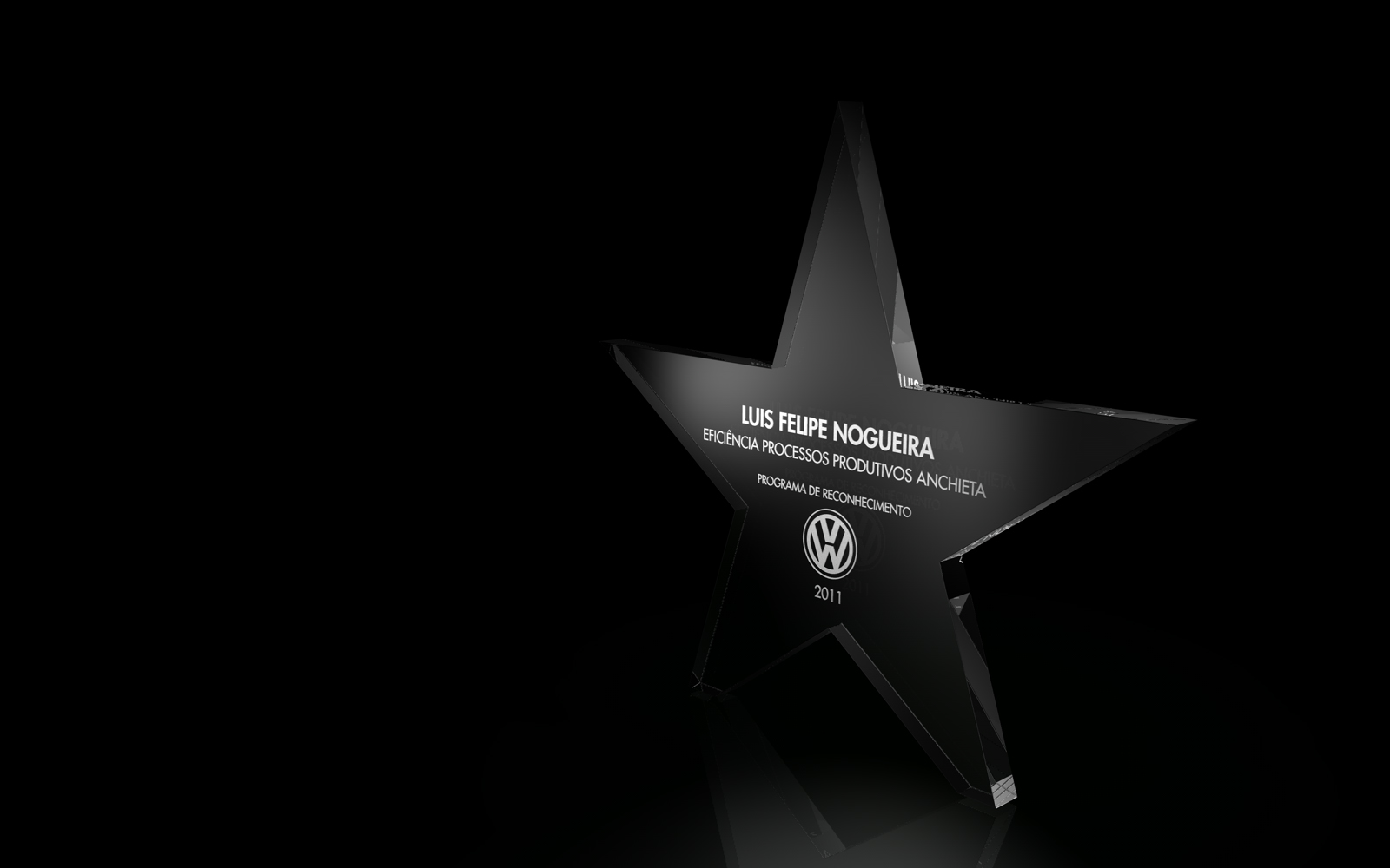The trophy given was made of thick glass cutted in the shape of a star