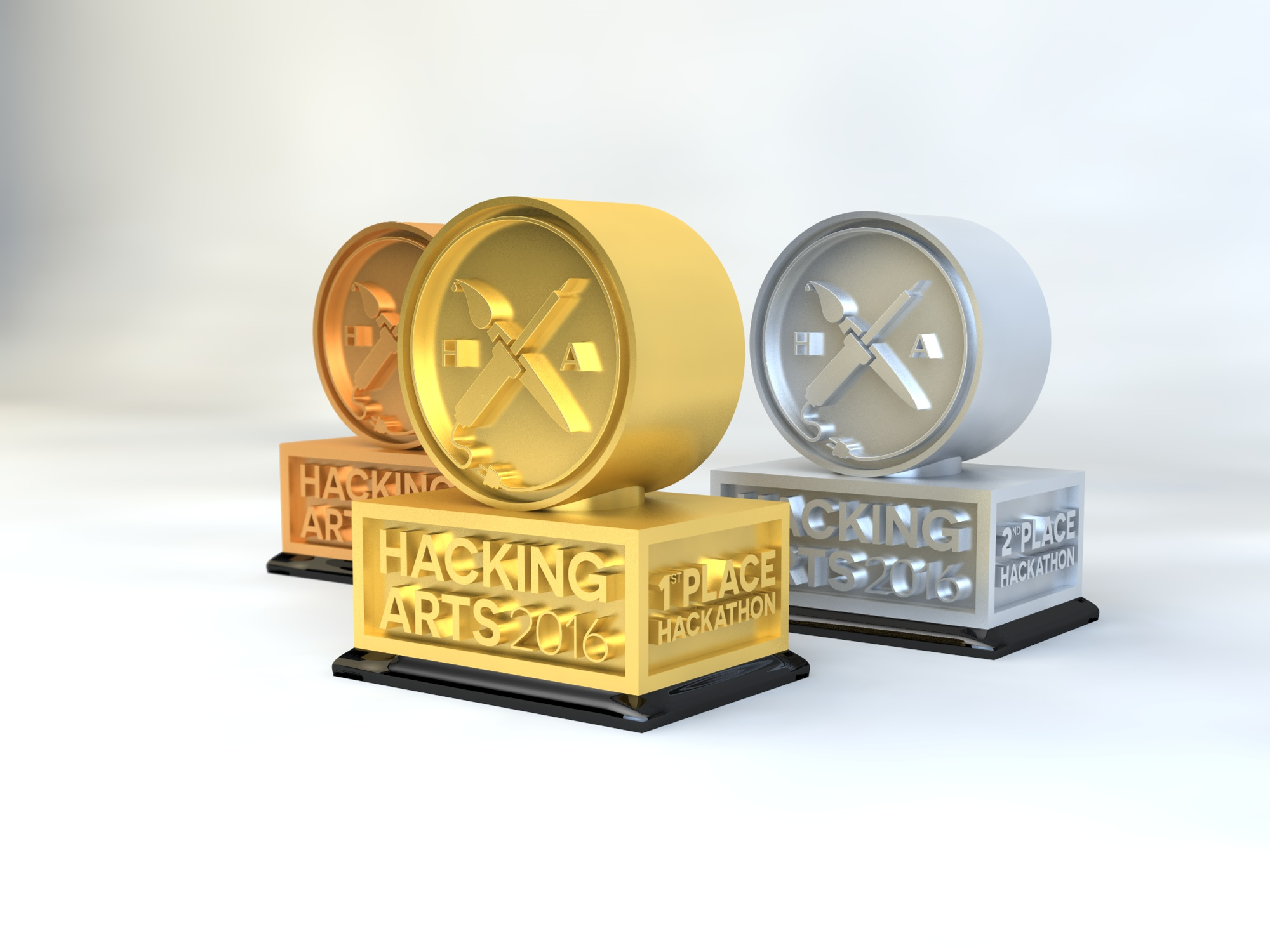 Trophies for the Hackathon designed and finished by me and printed by our partner Formlabs