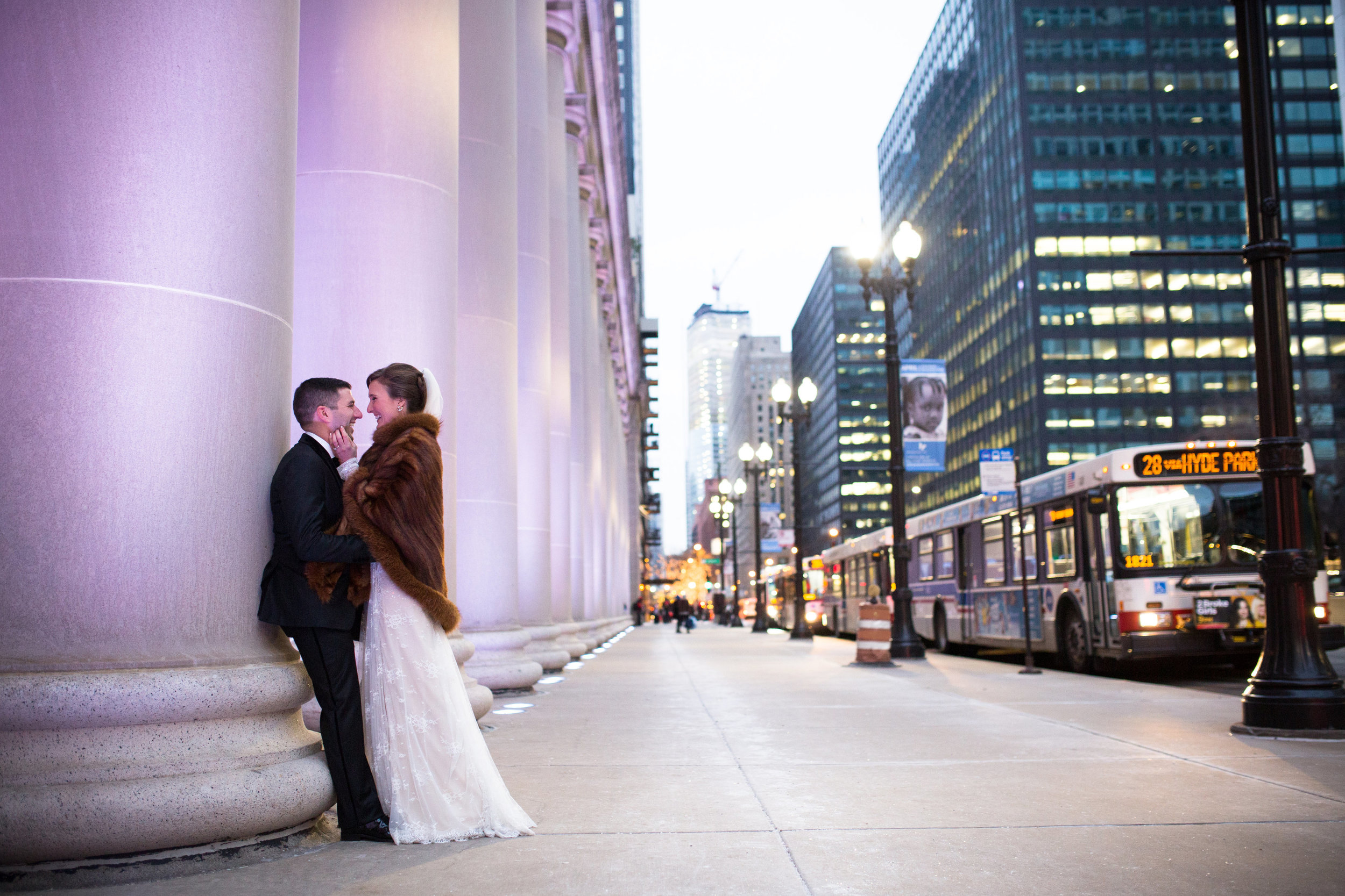 Winter Wedding Photography downtown Chicago