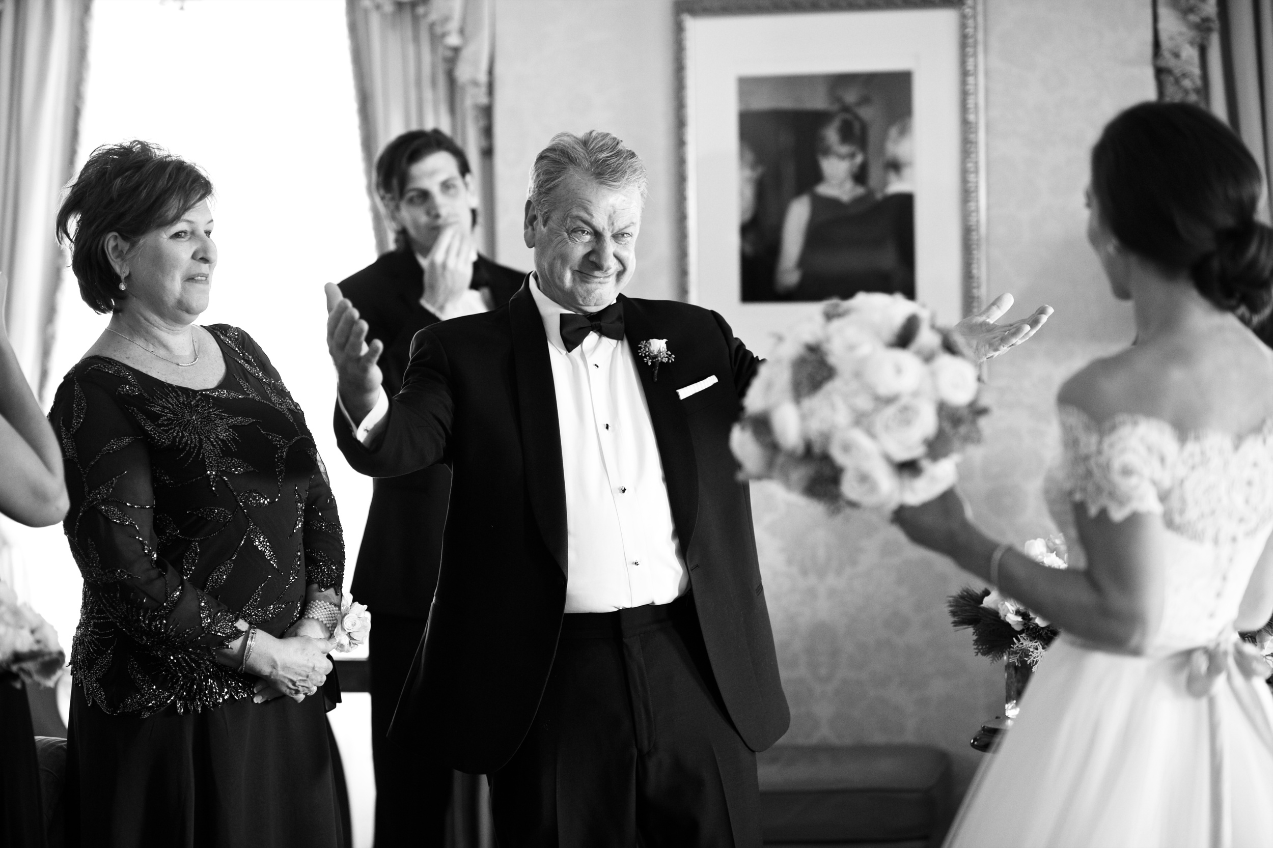 When her dad saw her for the first time in her wedding dress, there was not a dry eye in that room!