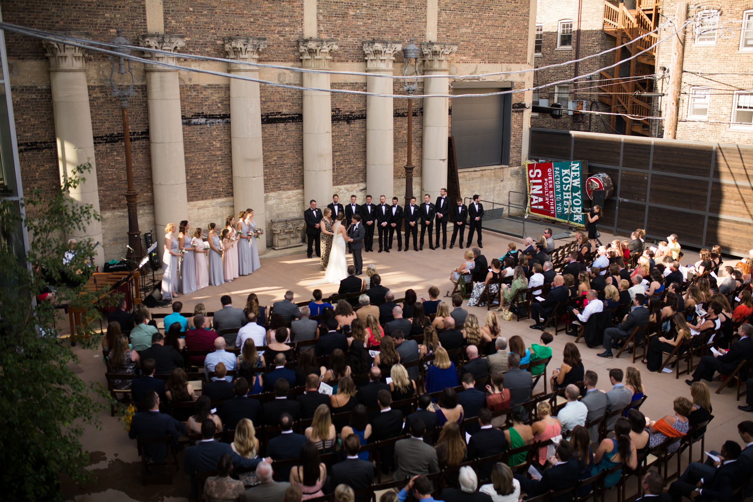 wedding ceremony at architectural artifacts