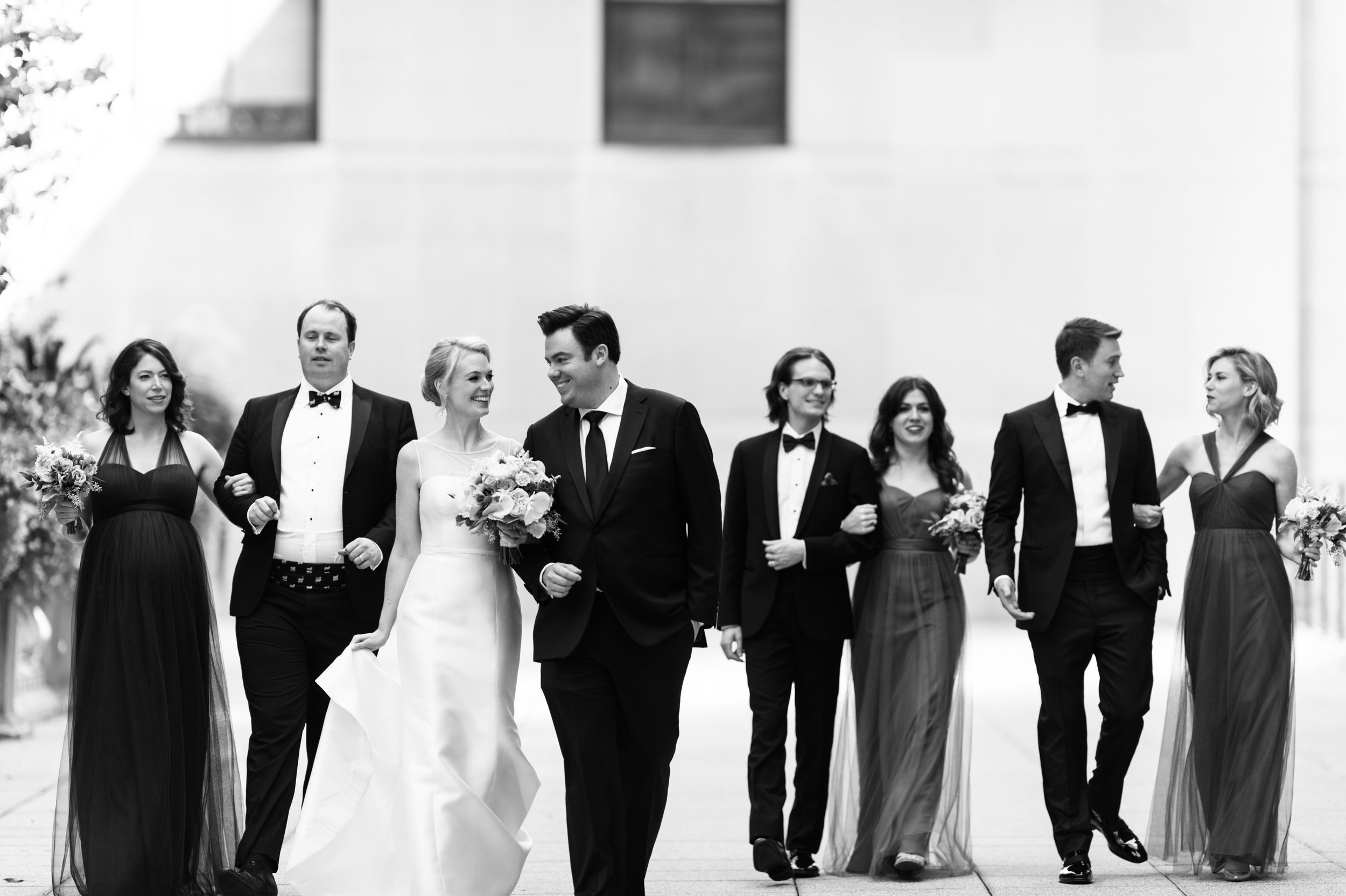 Black and white bridal party photography in chicago