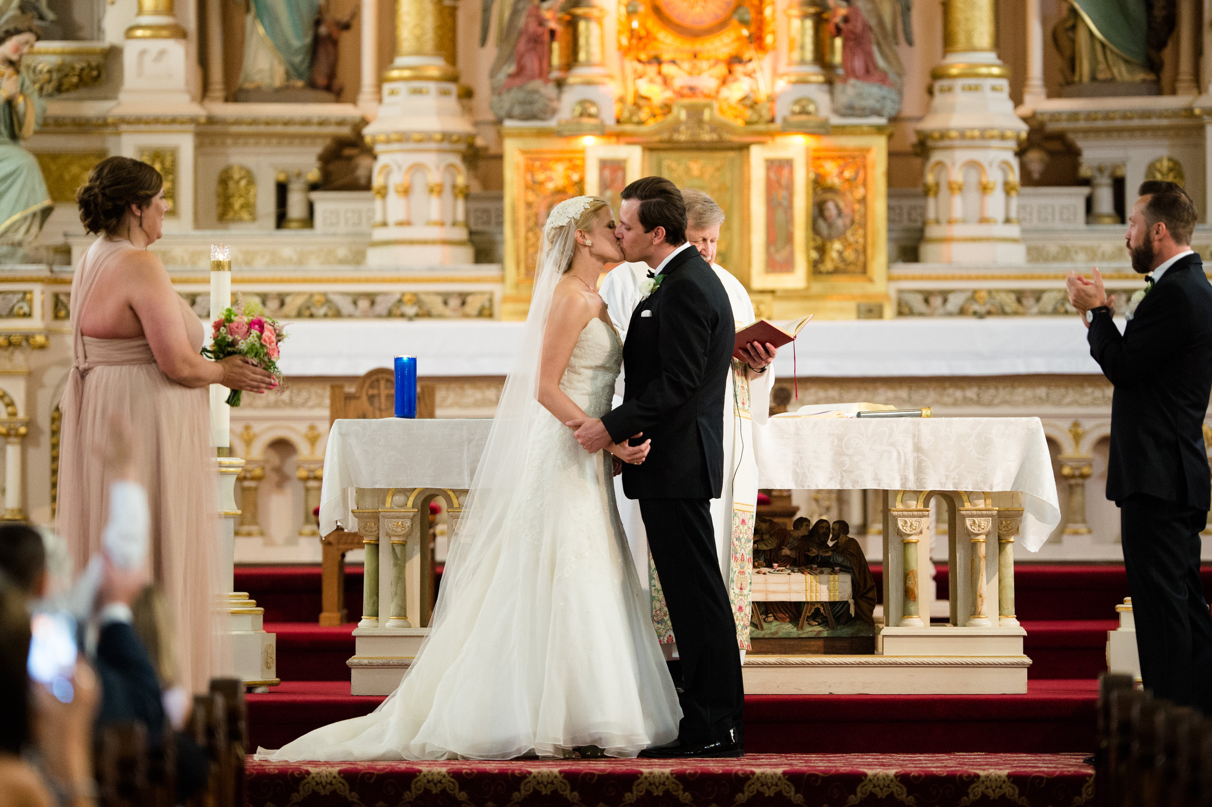 Wedding ceremony at St. Michael's Church in chicago