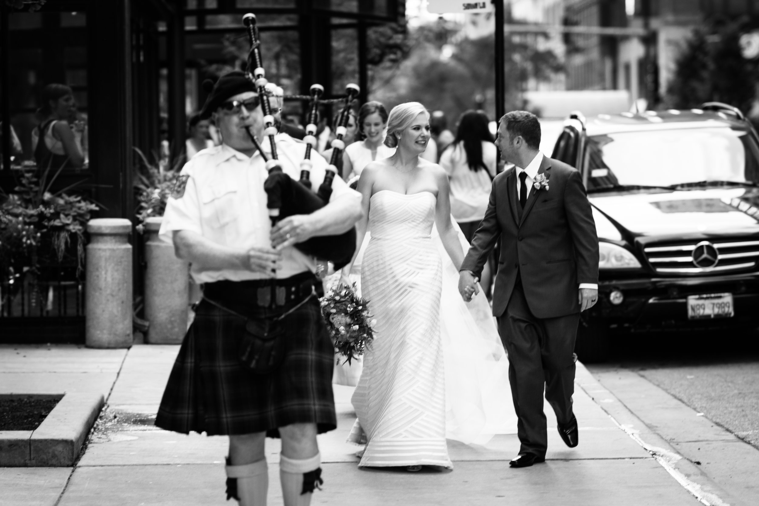 Bagpipes at chicago wedding