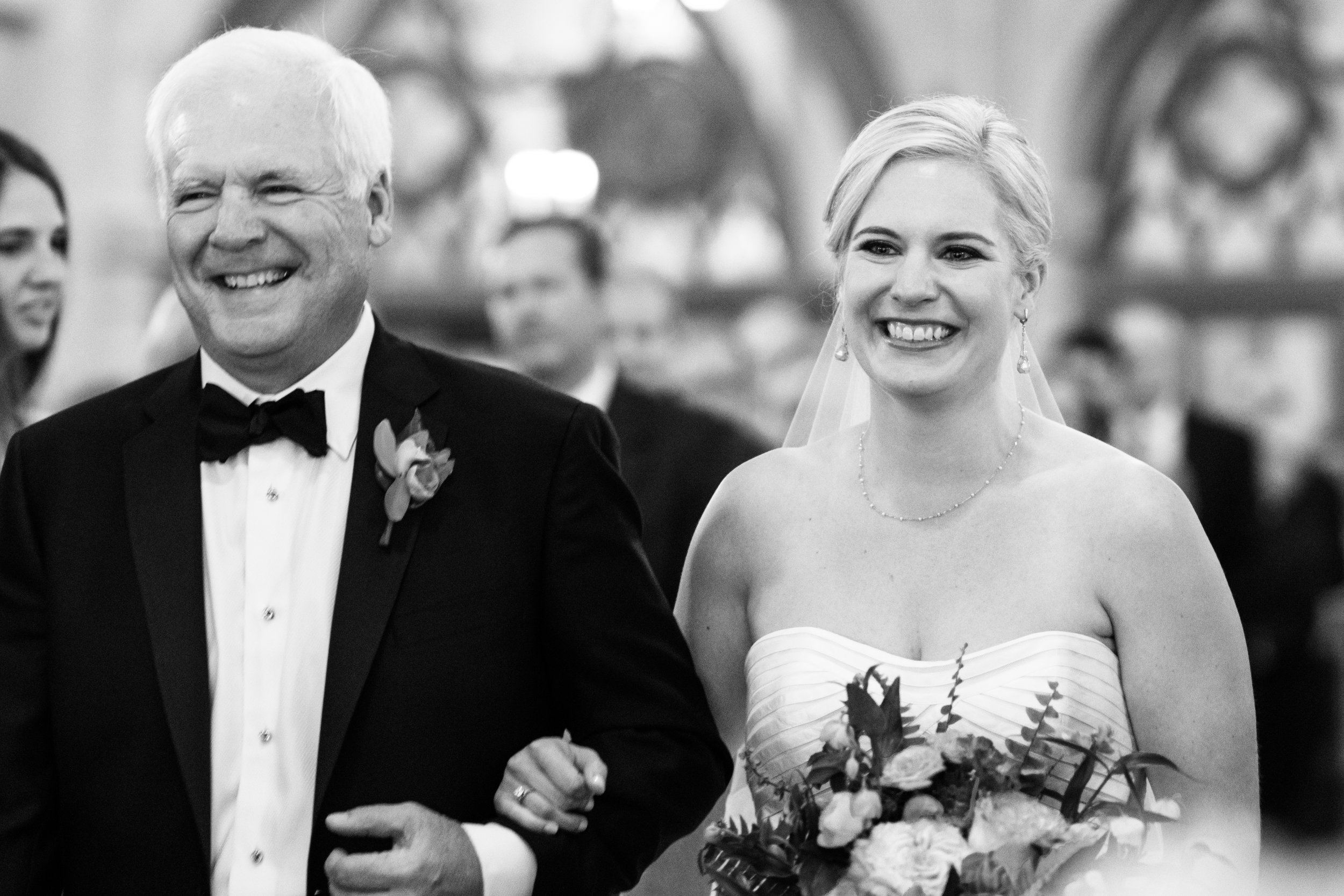 Dad and Bride walking down the aisle