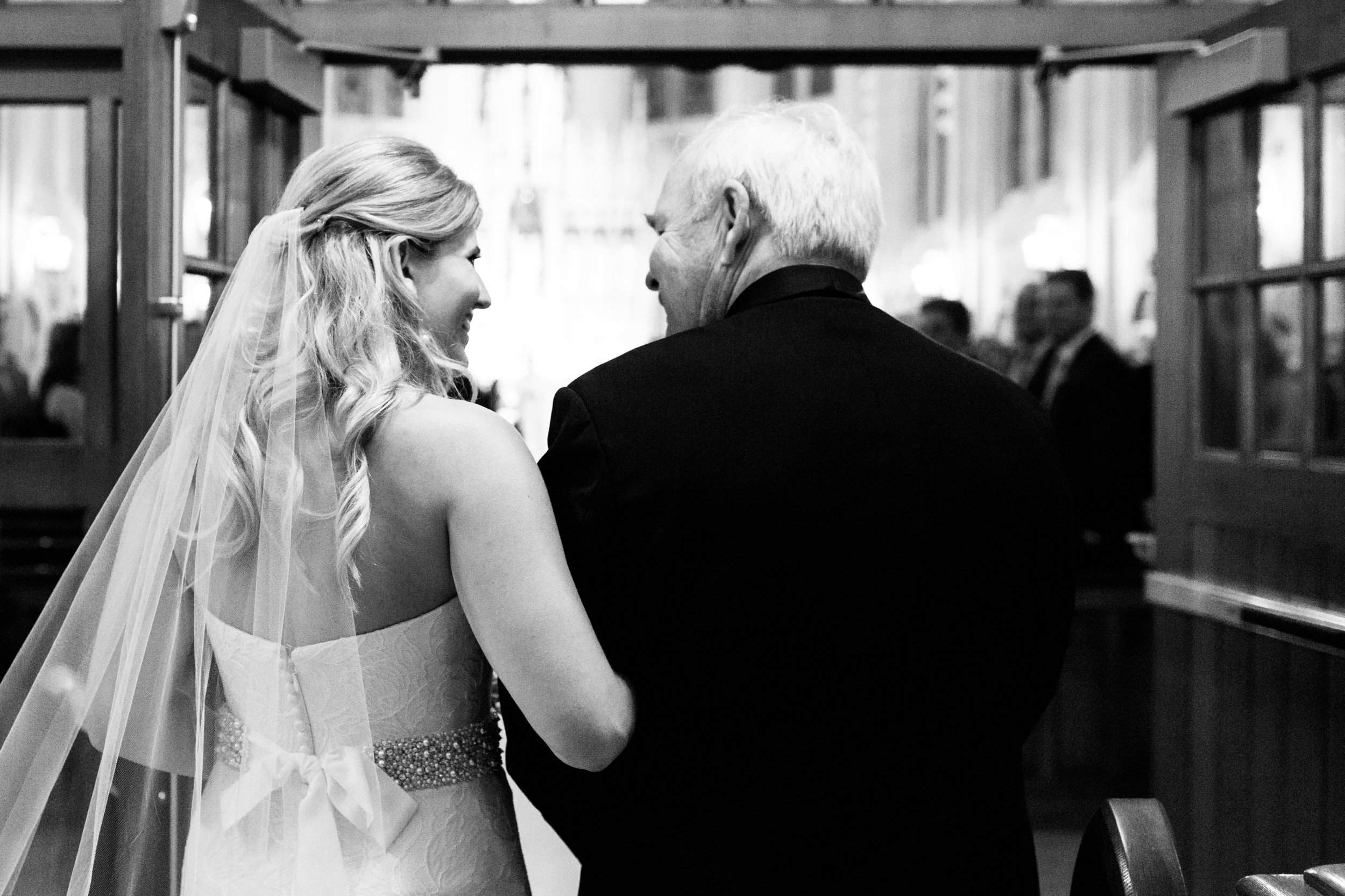 Bride and Dad at St. James Chapel Chicago