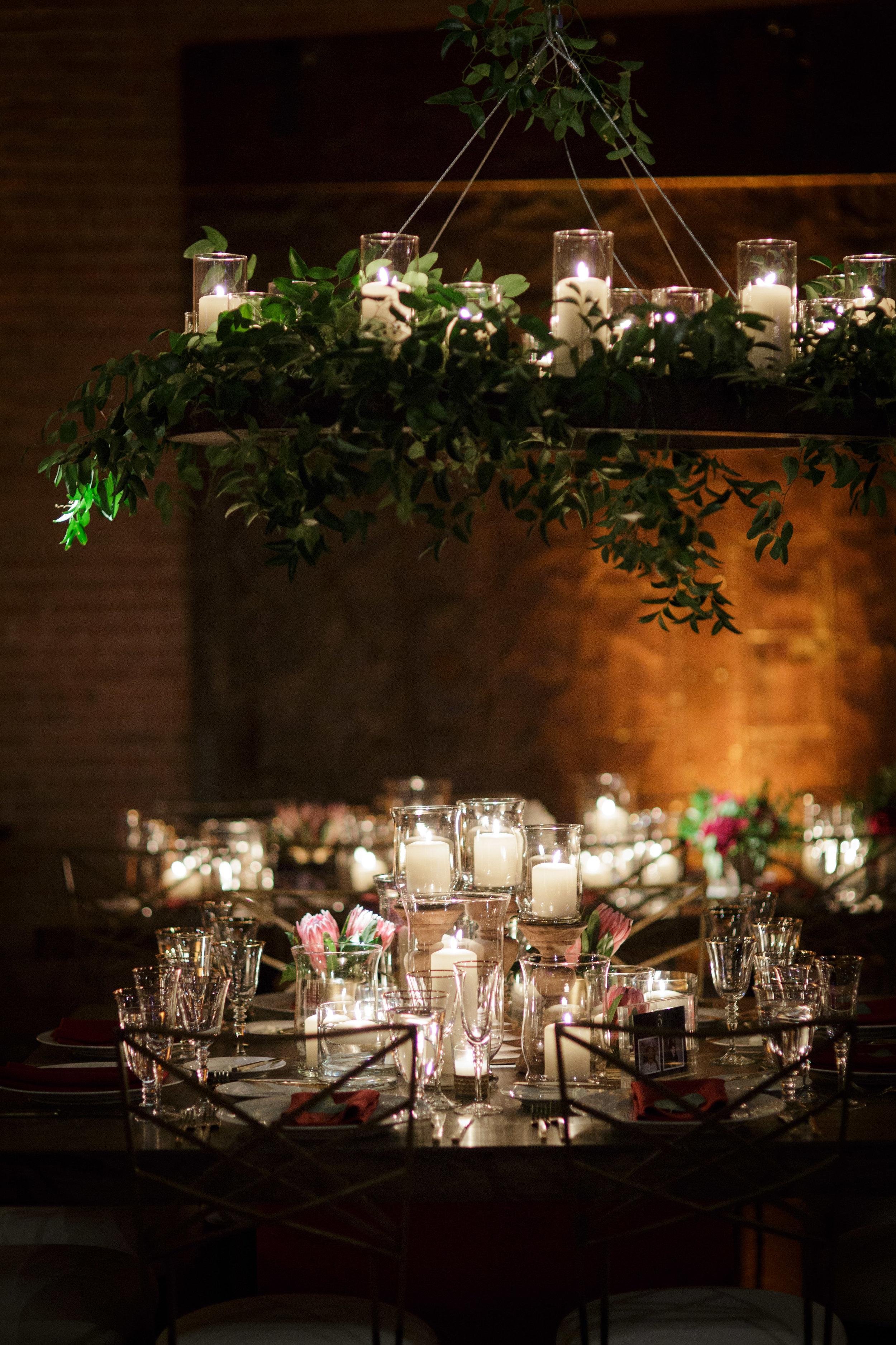 wedding floral chandelier chicago