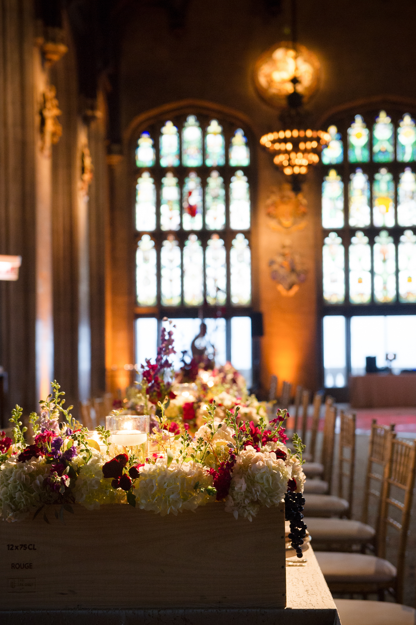 Floral fruit crate center pieces at University Club of Chicago