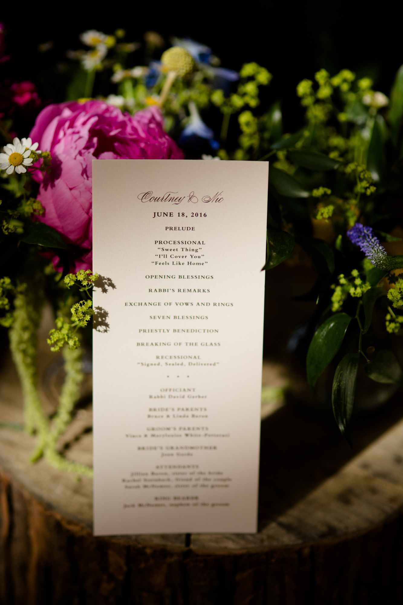 Wedding ceremony program at Bridgeport Art Center in Chicago