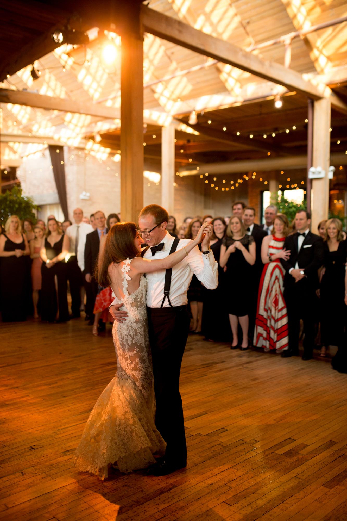 Bride and groom's first dance at Bridgeport Art Center Skyline Loft.