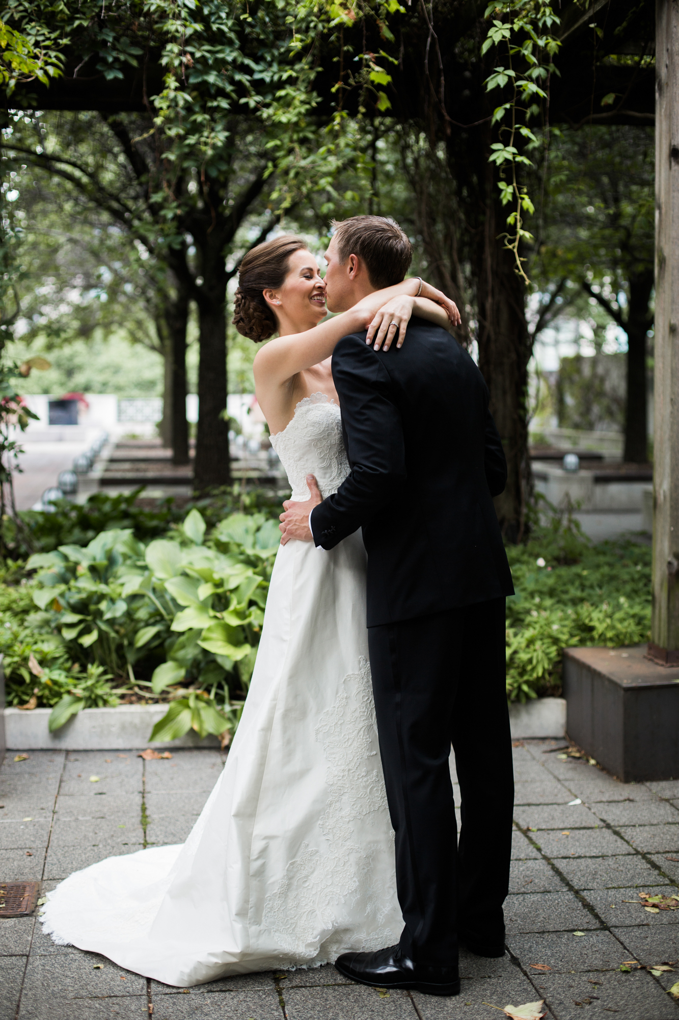 Wedding day first look at garden in downtown Chicago
