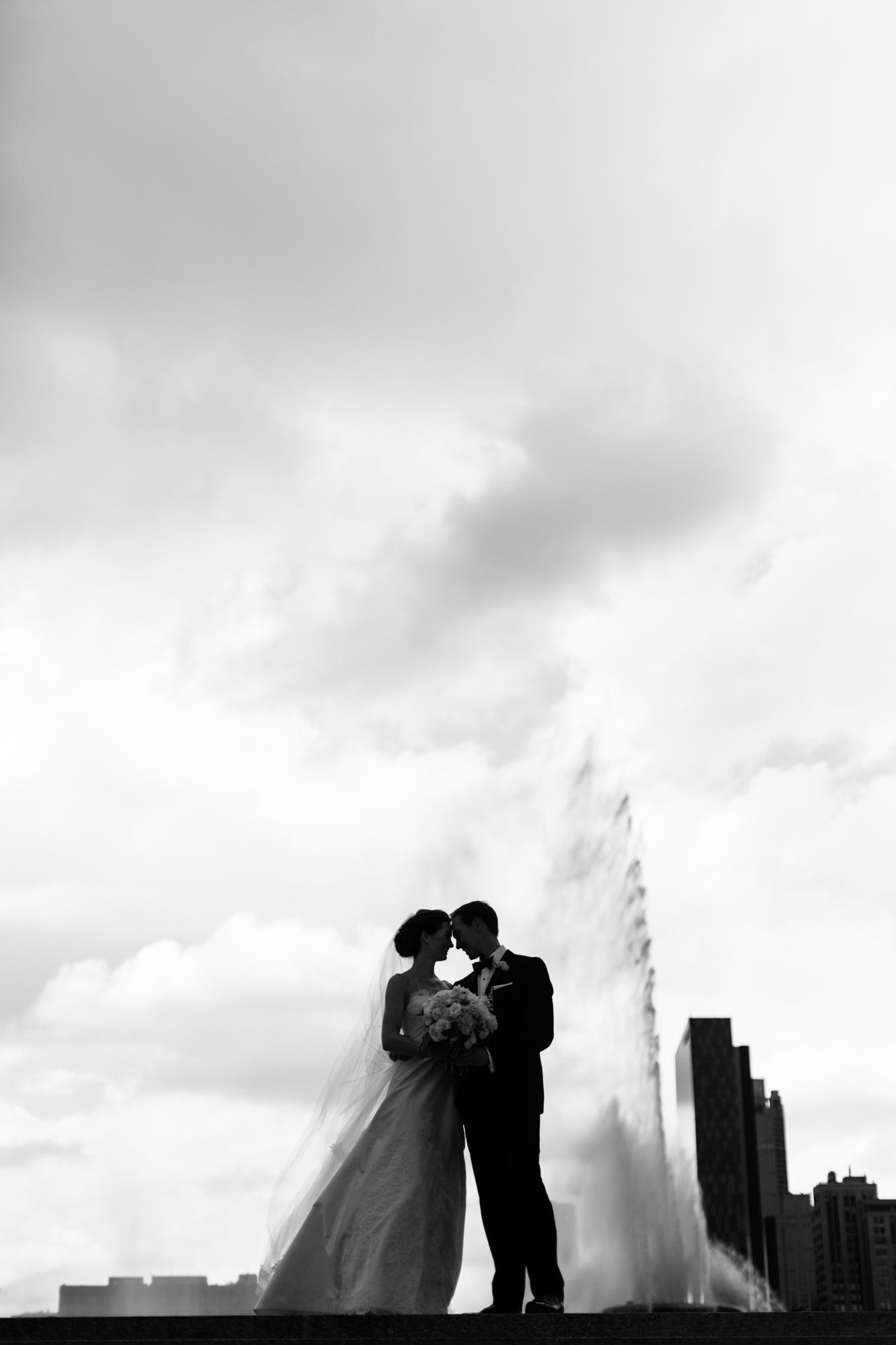Fine Art Editorial Wedding Portrait at Buckingham Fountain in Chicago