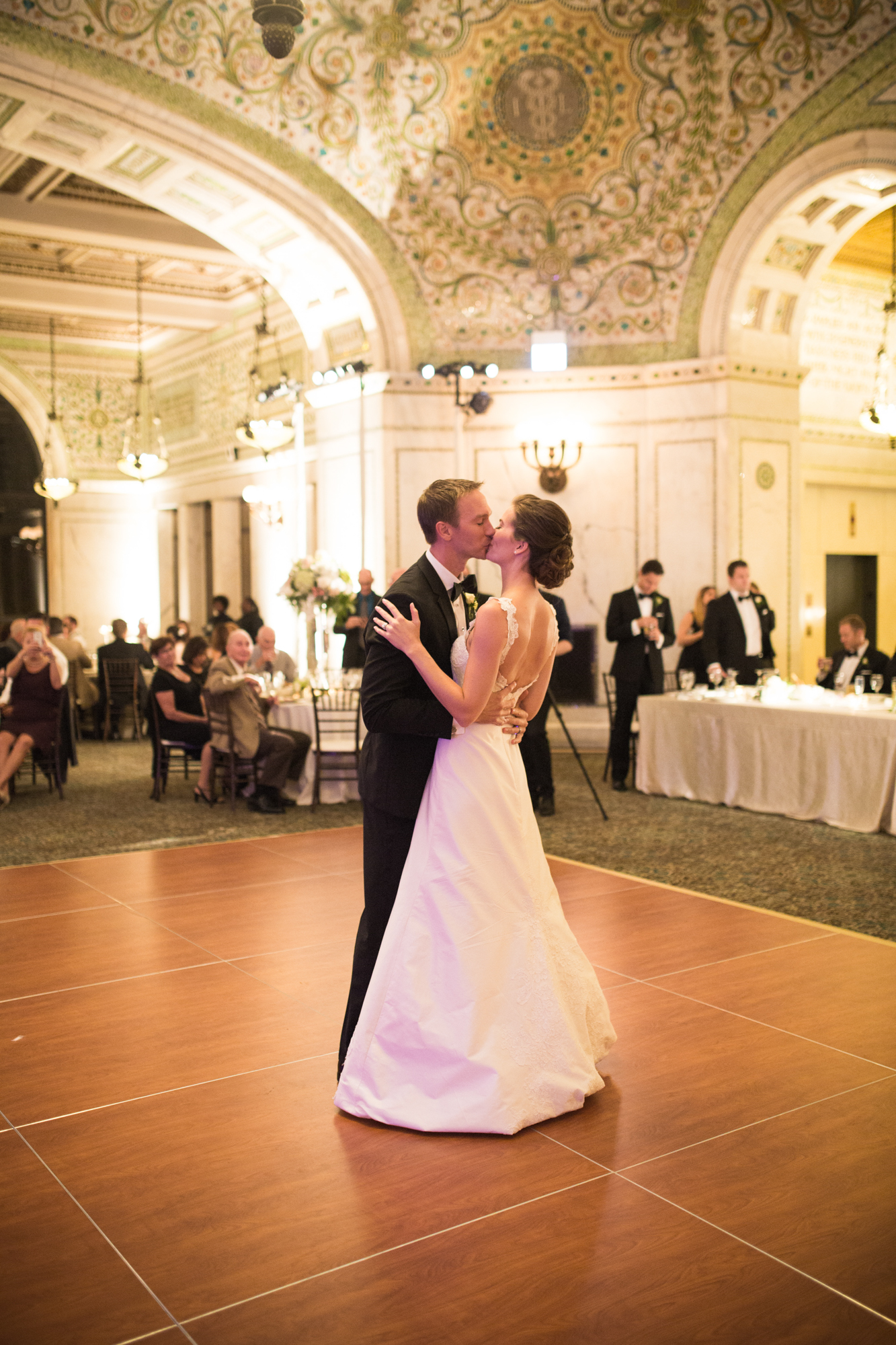 Bride and groom's first dance at Chicago Cultural Center