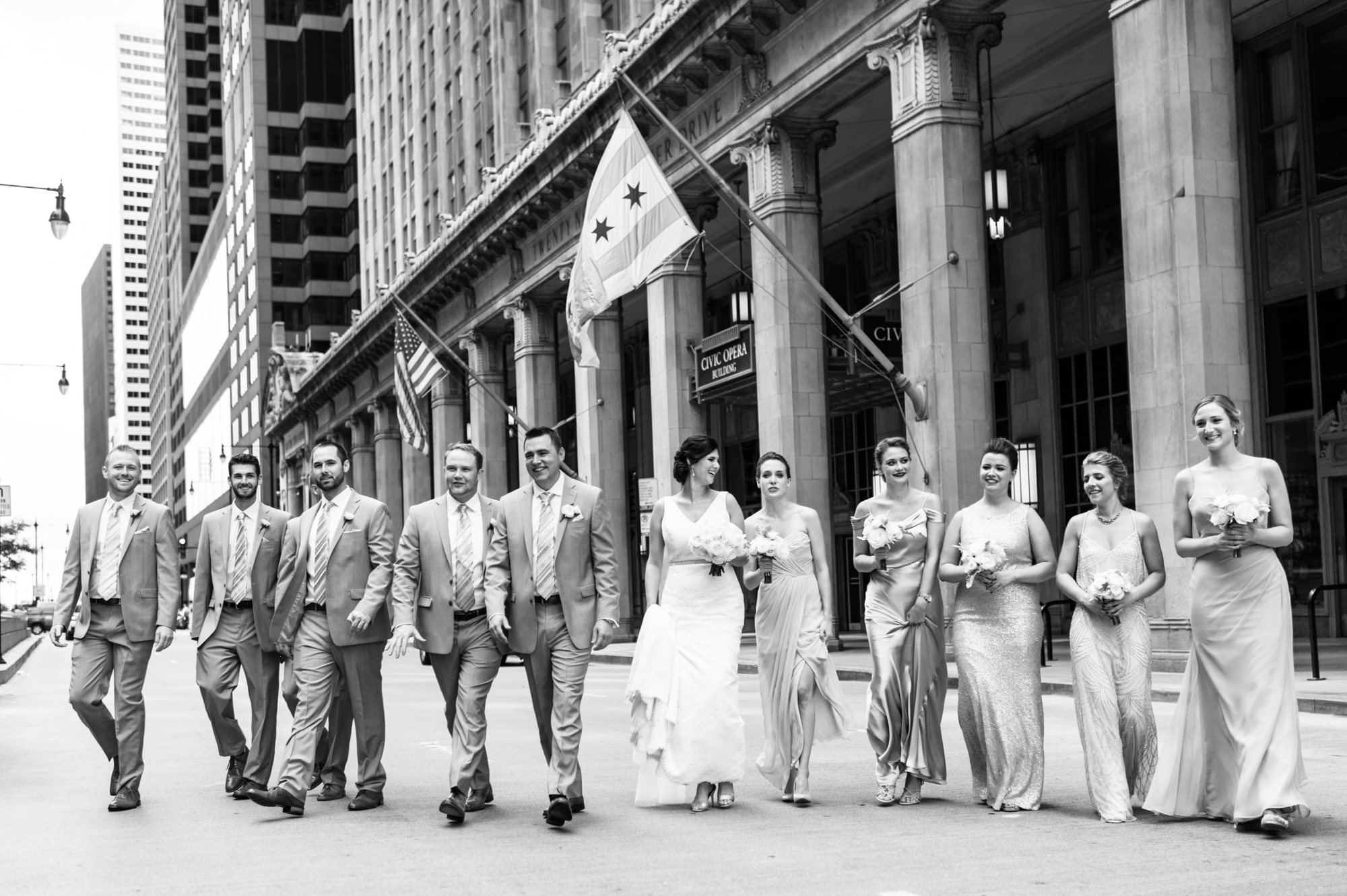 Wedding party portrait at Civic Opera Building in Chicago