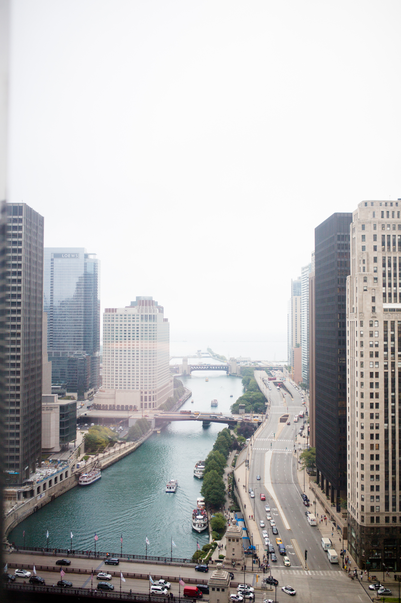 View of the Chicago River from the bridal suite at the Trump Hotel
