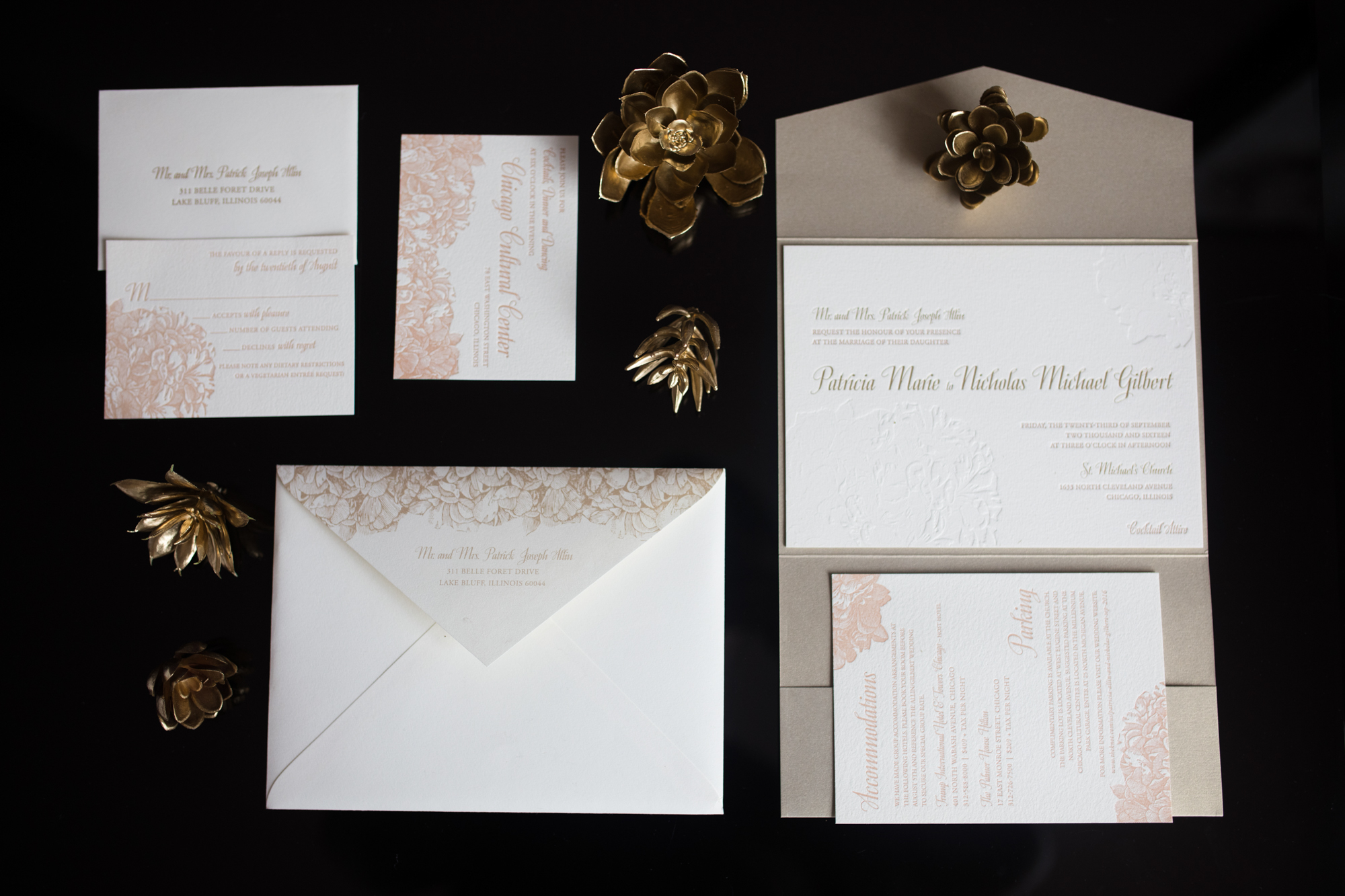 Paper suite for romantic vintage chic wedding at Chicago Cultural Center