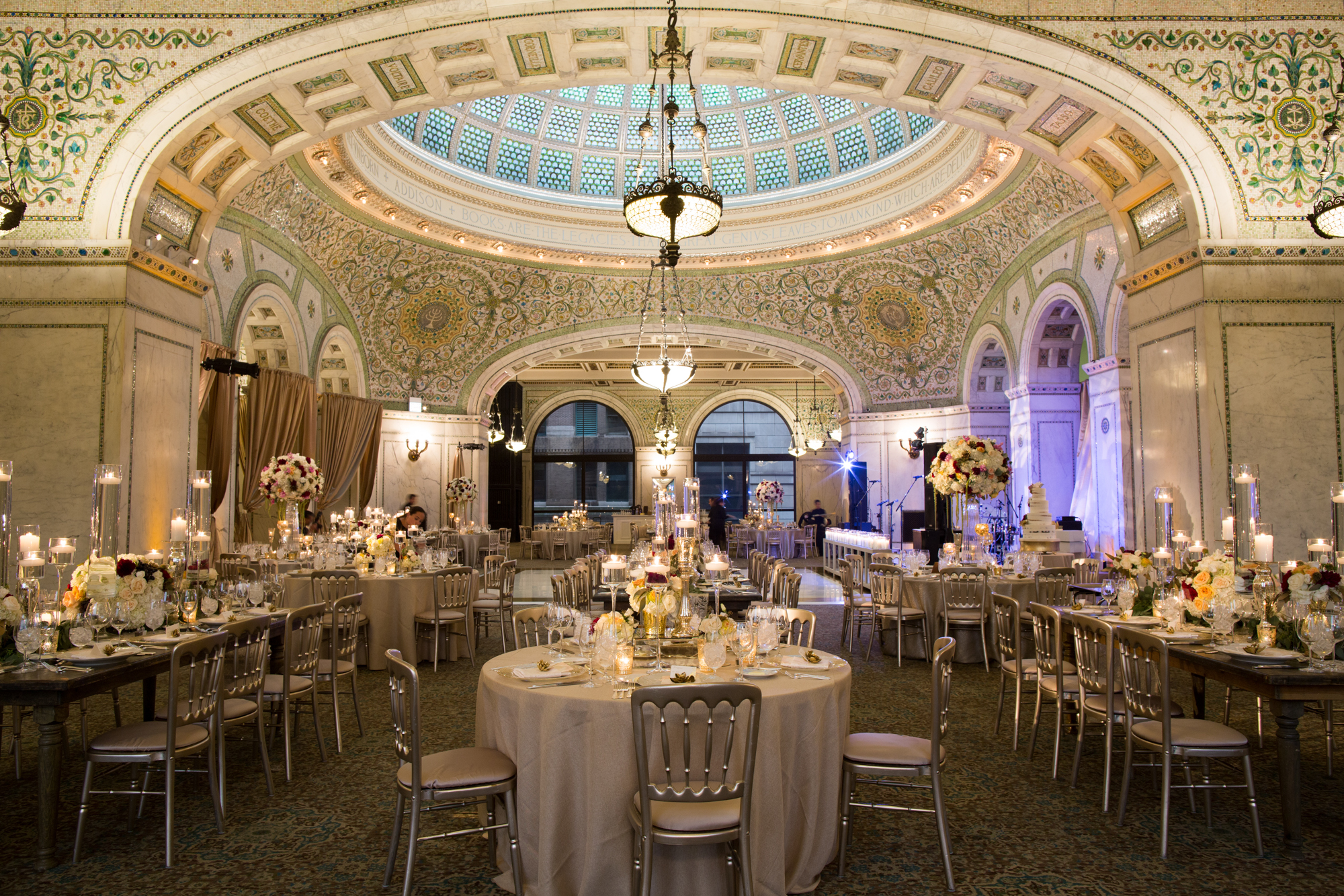 Wedding reception at Chicago Cultural Center by Platinum Events and Big City Bride