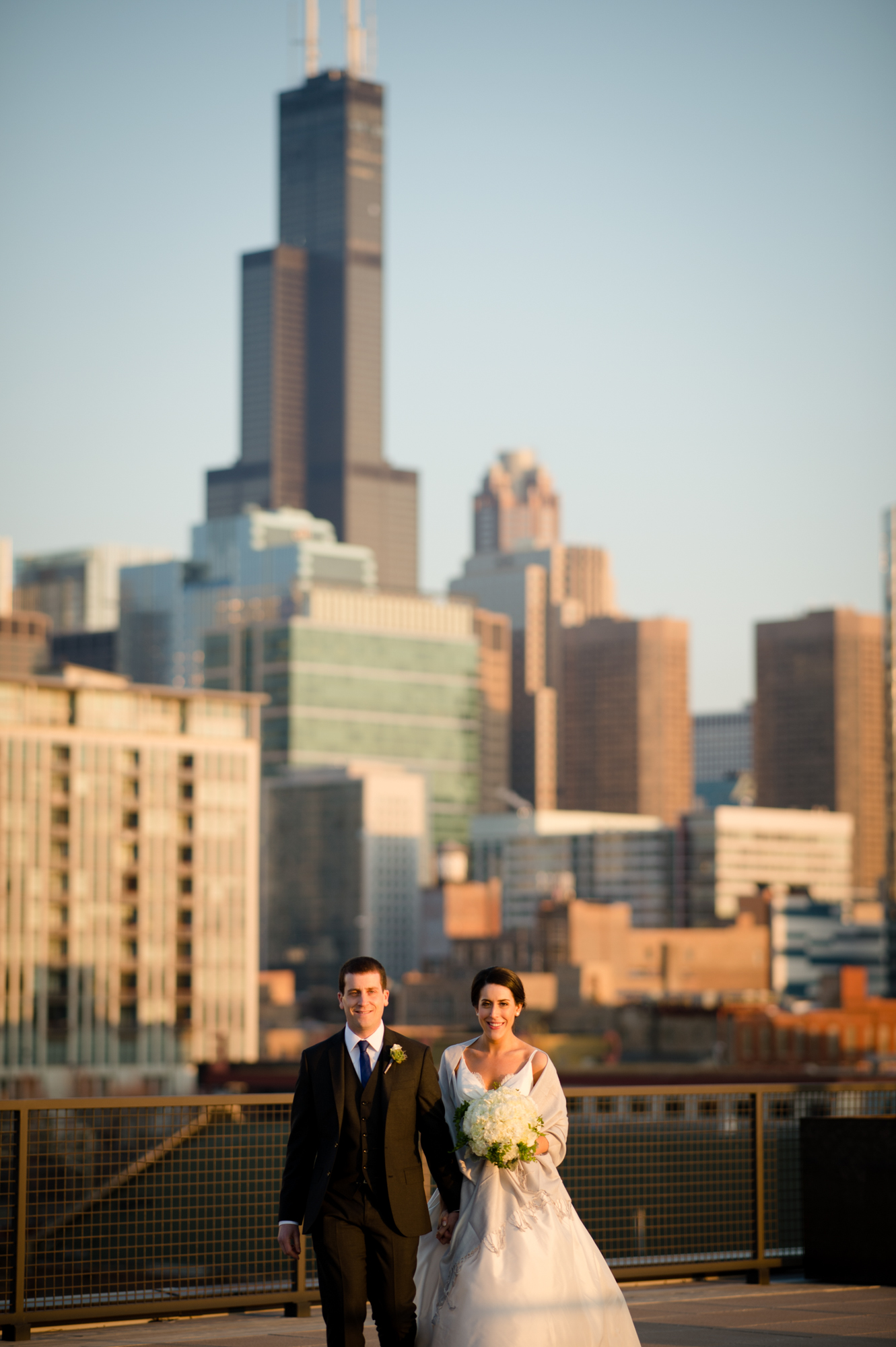 Wedding portrait against Chicago skyline