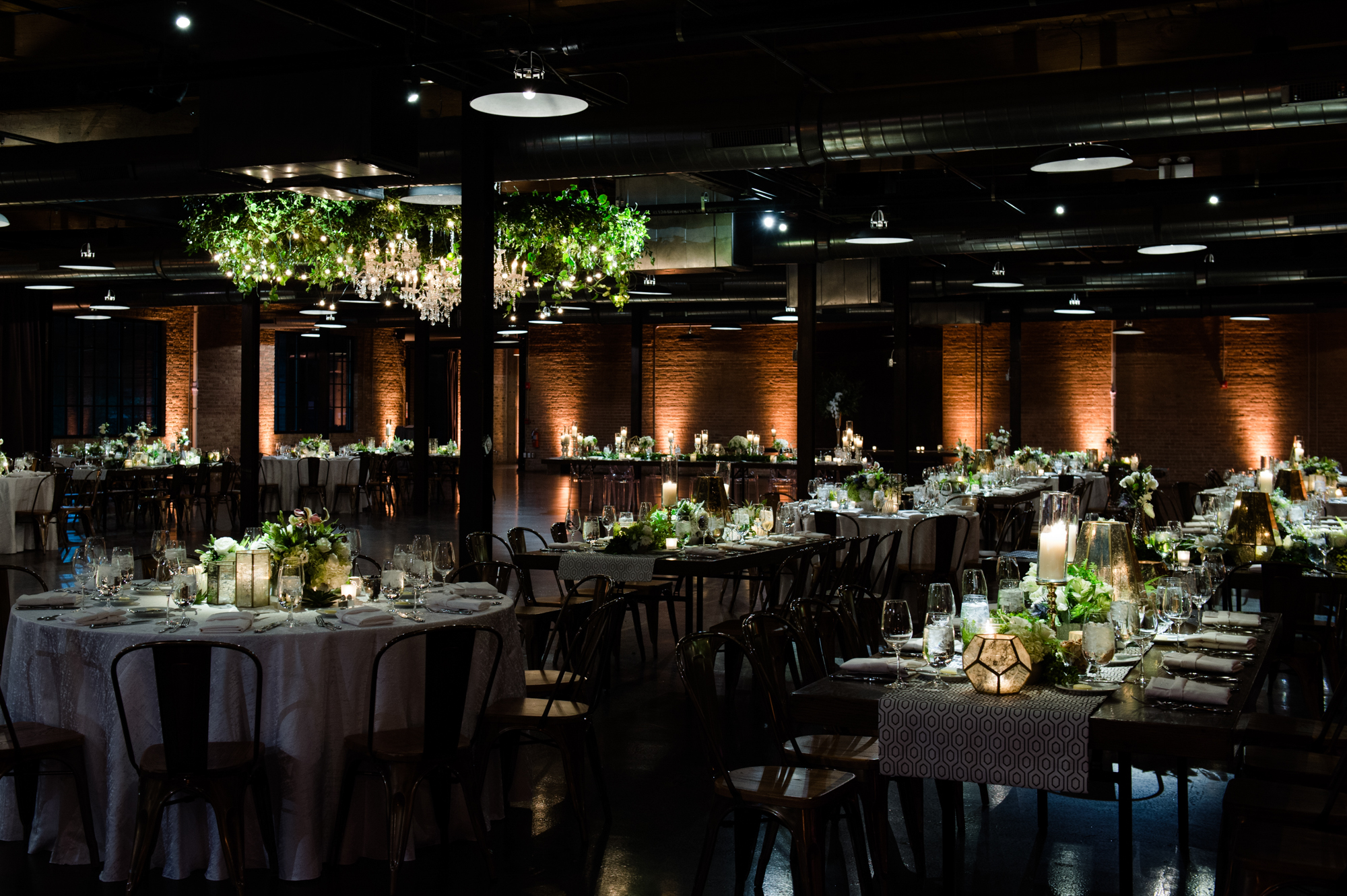 Modern green and white wedding reception at Morgan Manufacturing in Chicago