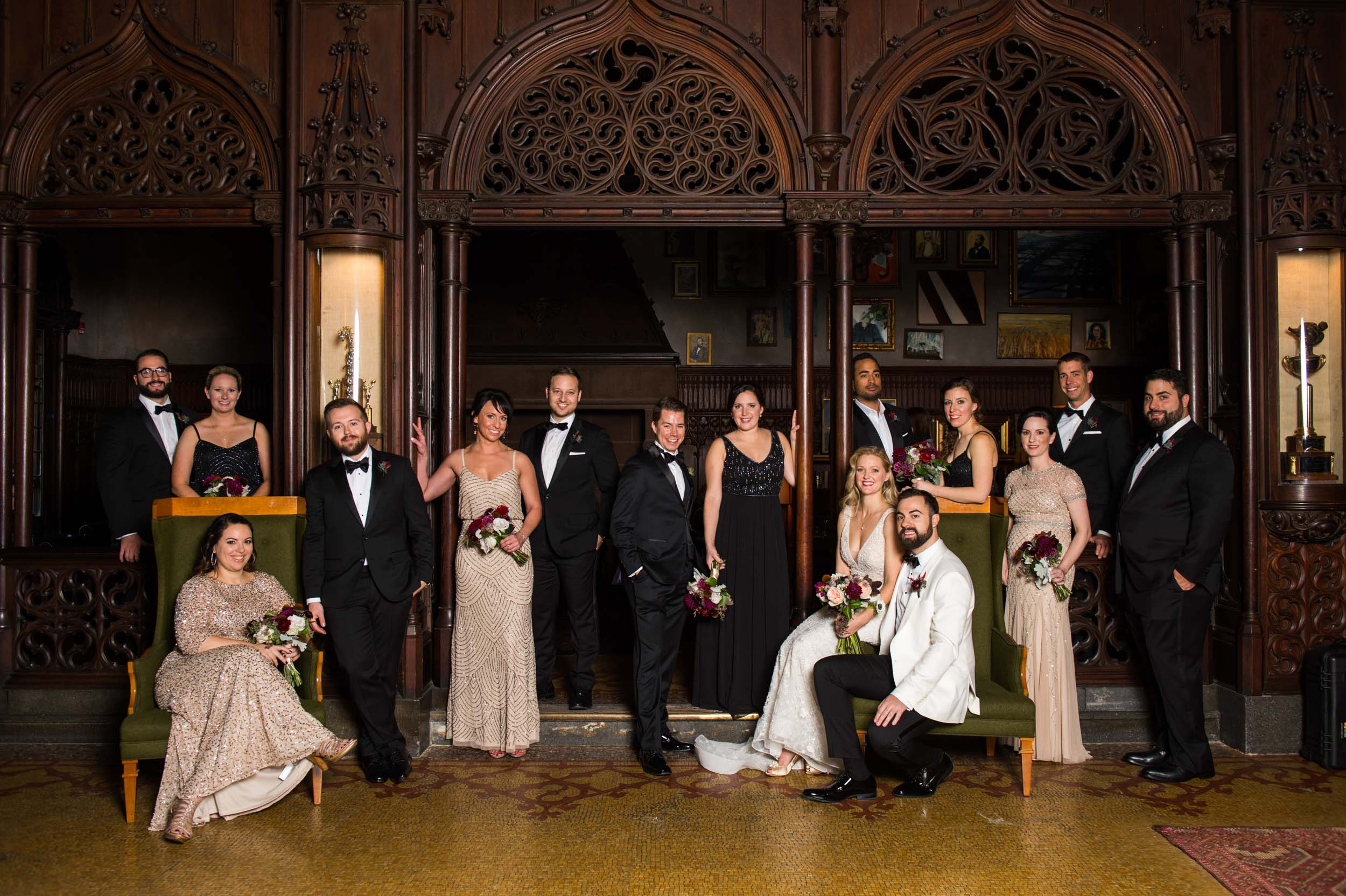 Editorial wedding party portrait at Chicago Athletic Association Hotel
