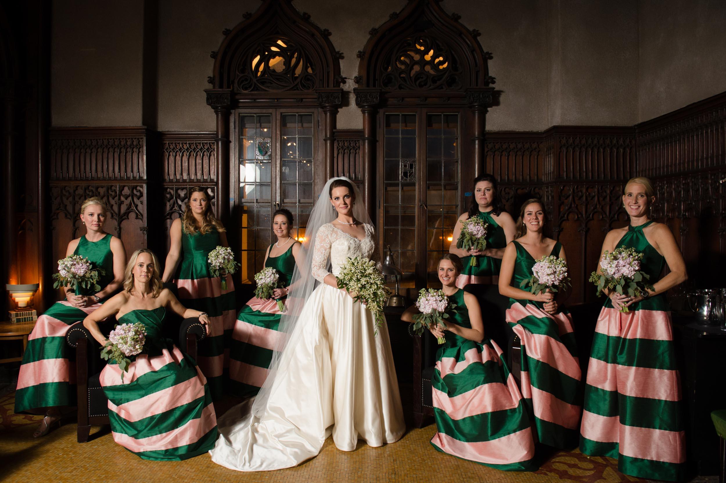 Editorial bridesmaids portrait at Chicago Athletic Association