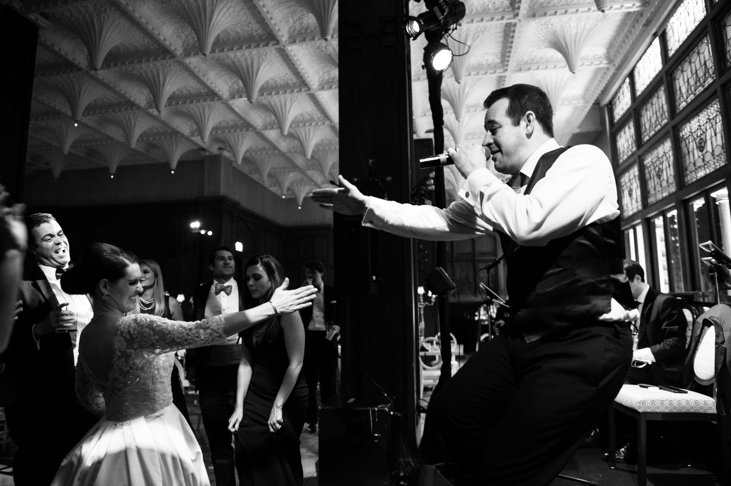Bride and groom dance at Chicago Athletic Association wedding - The Party Faithful Band